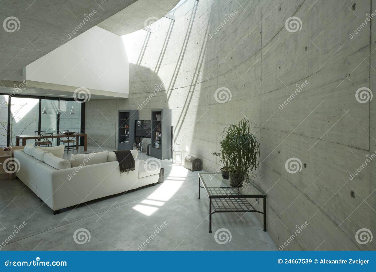 Intérieur De Maison En Béton Moderne, Salle De Séjour