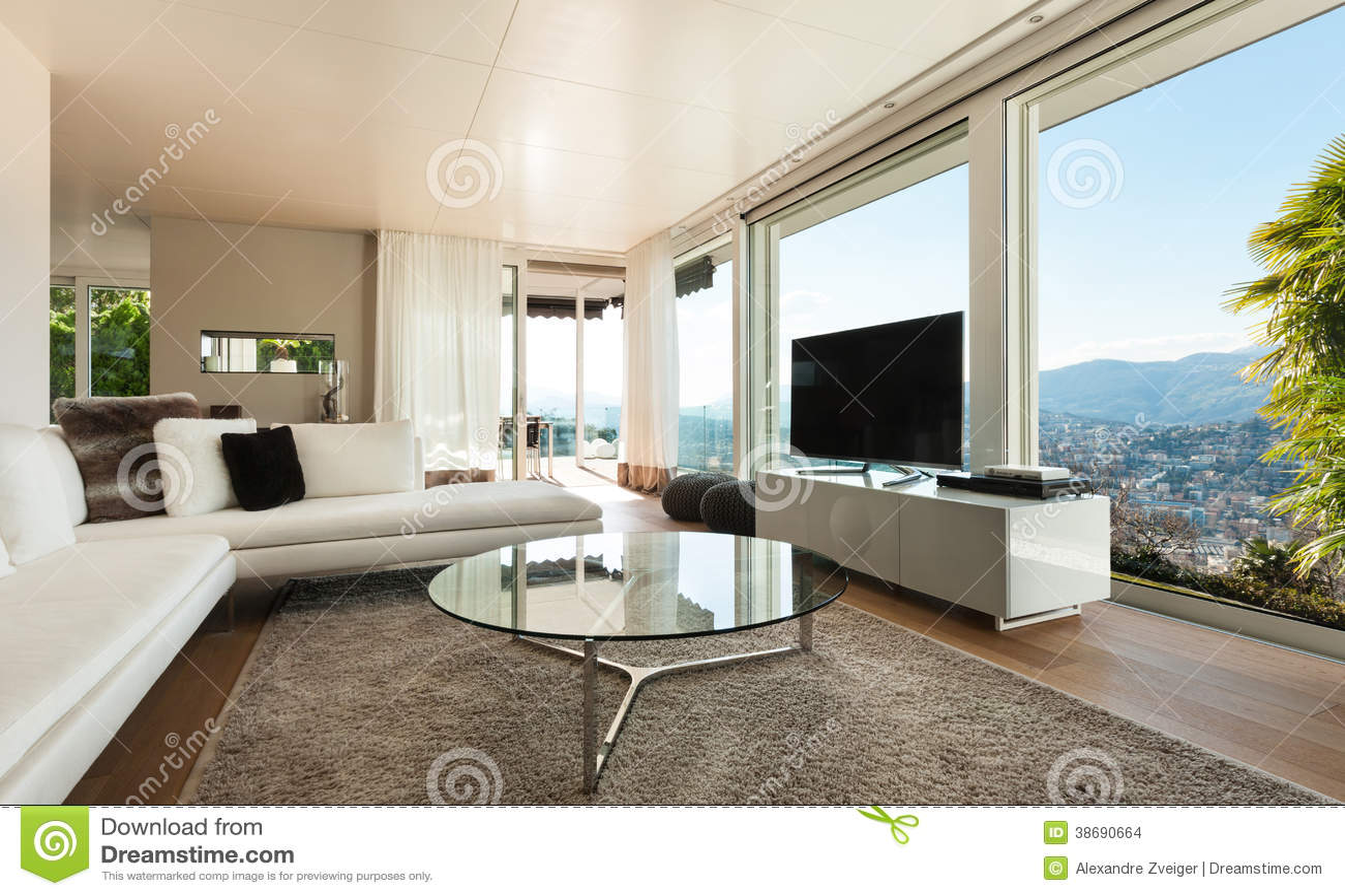 Maison Moderne Intérieure, Salon Photo stock - Image du étage, divan ...