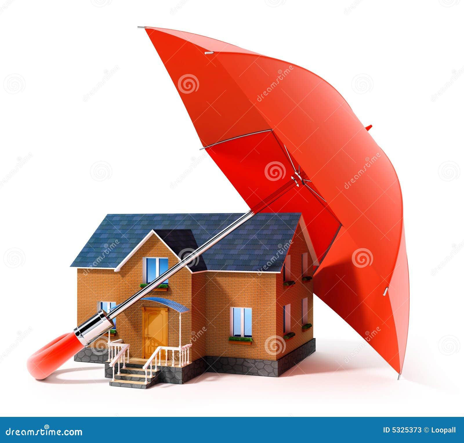 Maison protectrice de parapluie rouge de pluie