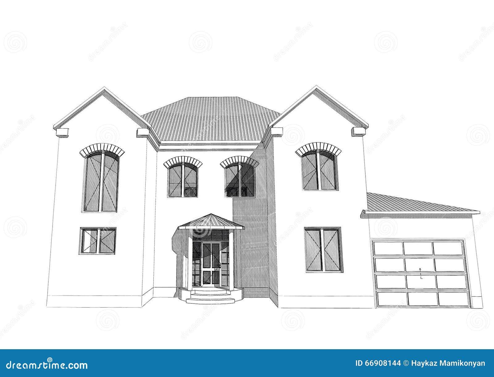 Maison r sidentielle 3d illustration stock image 66908144 for Programme dessin maison