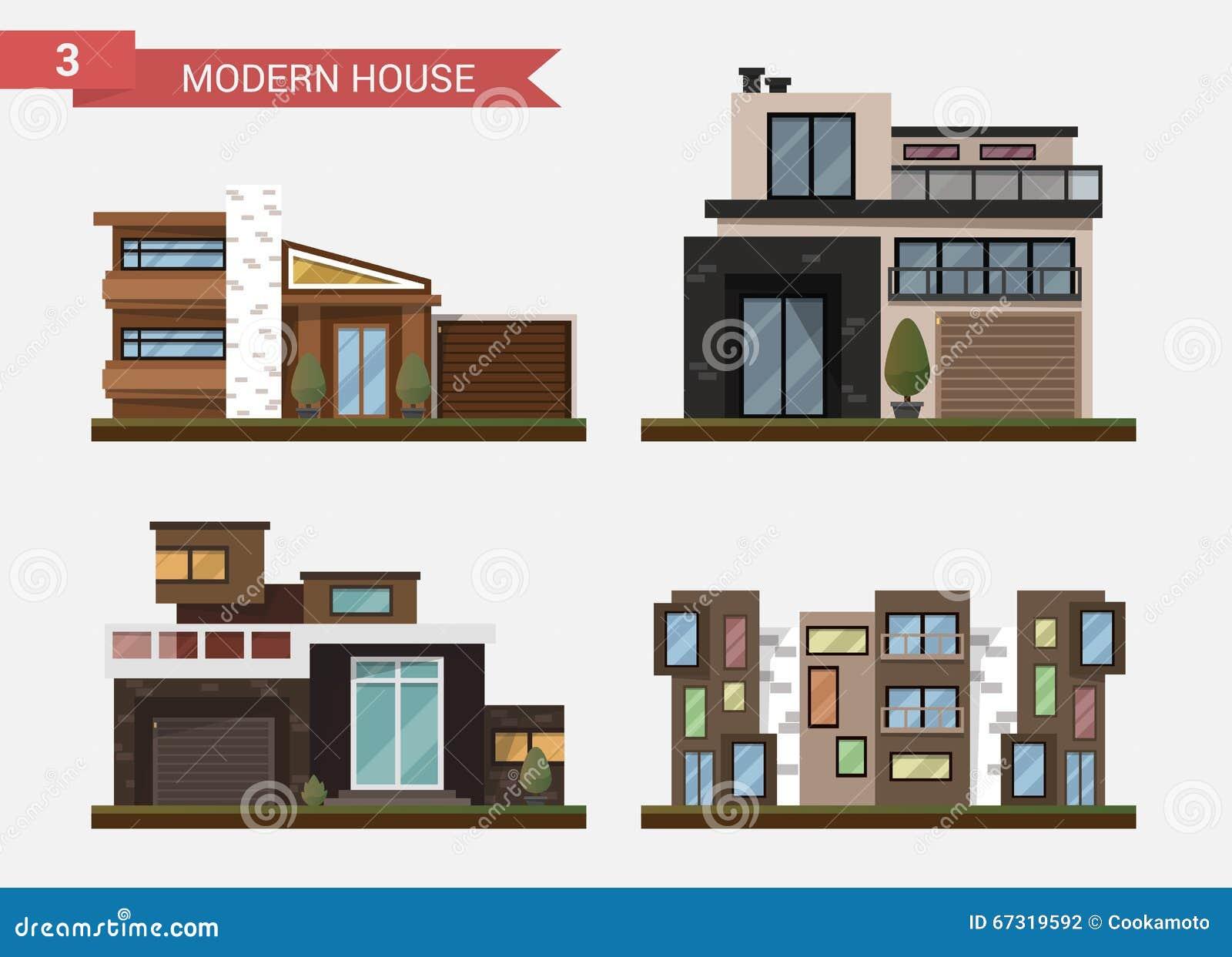 Maison traditionnelle et moderne d illustration plate de vecteur Maison familiale Immeuble de bureaux Trottoir privé, arrière-cou