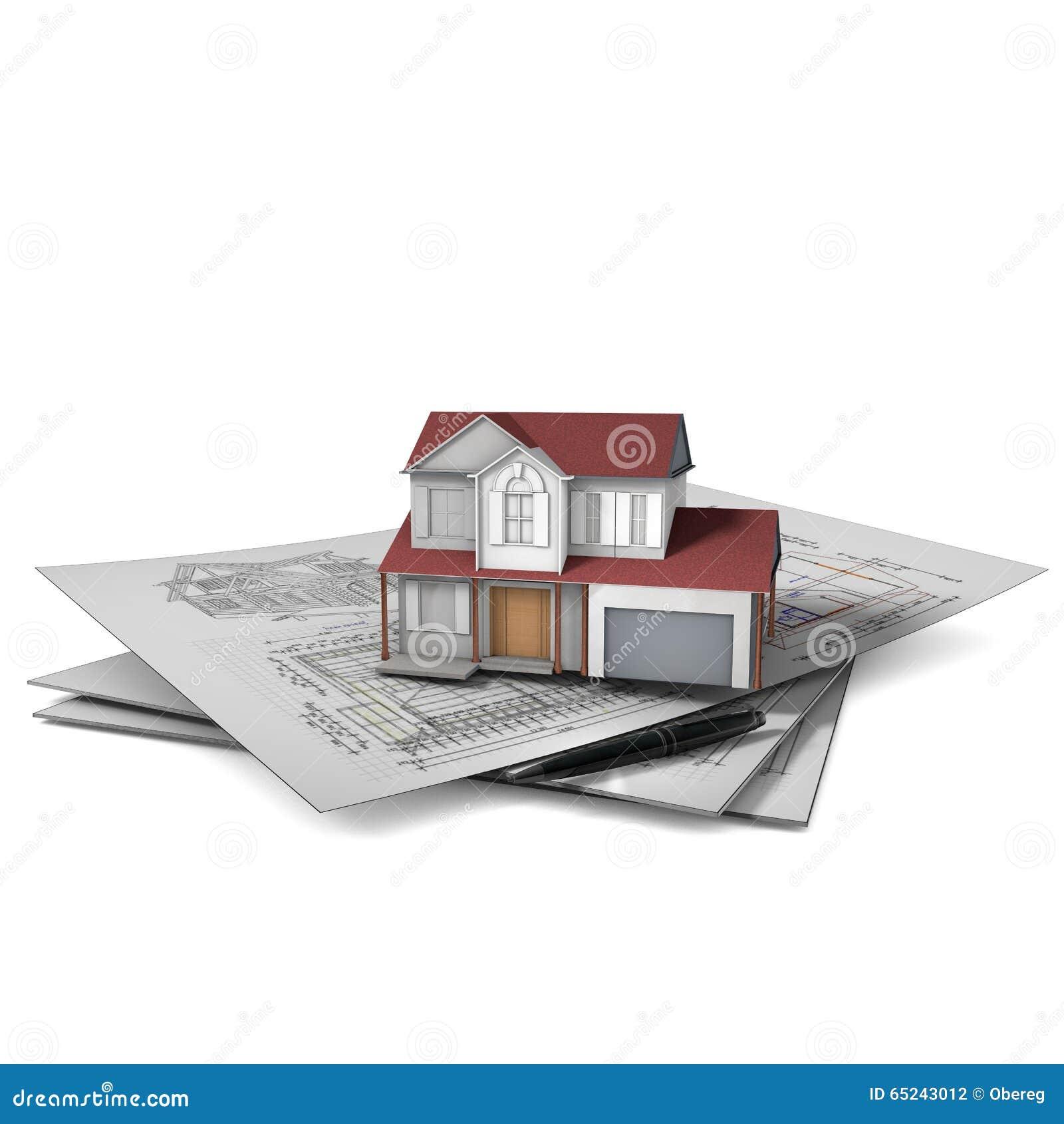 Maison Tridimensionnelle Sur Un Dessin Architectural Au