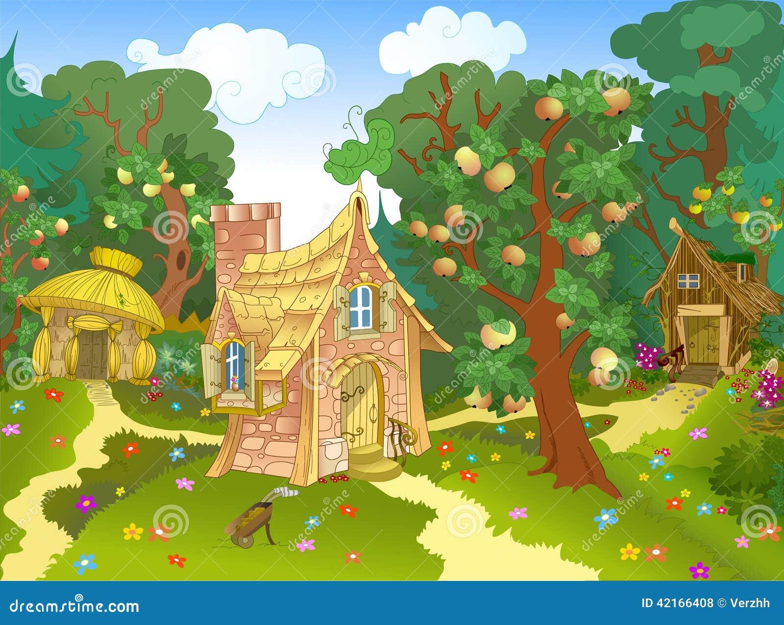 Maison Trois Fabuleuse Illustration De Vecteur