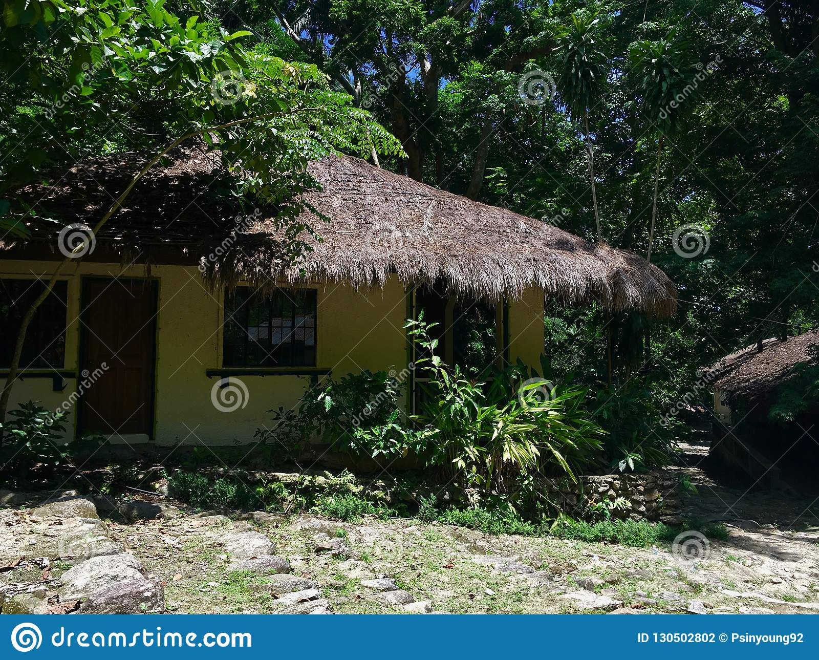 Maison tropicale au milieu de la jungle philippine