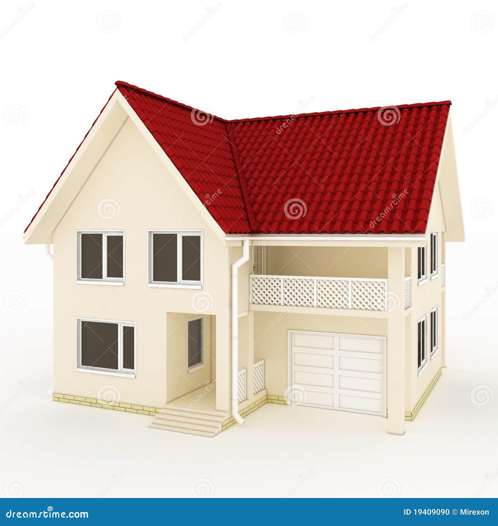 maison two story avec le toit le balcon et le garage rouges illustration stock illustration. Black Bedroom Furniture Sets. Home Design Ideas