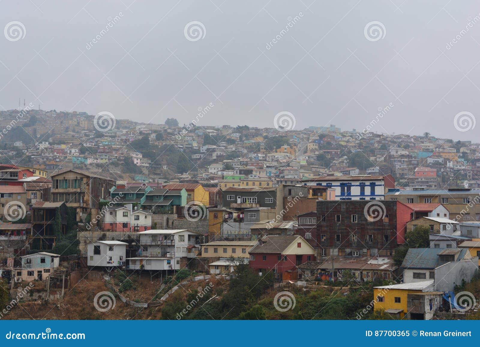 Maisons colorées à Valparaiso, Chili