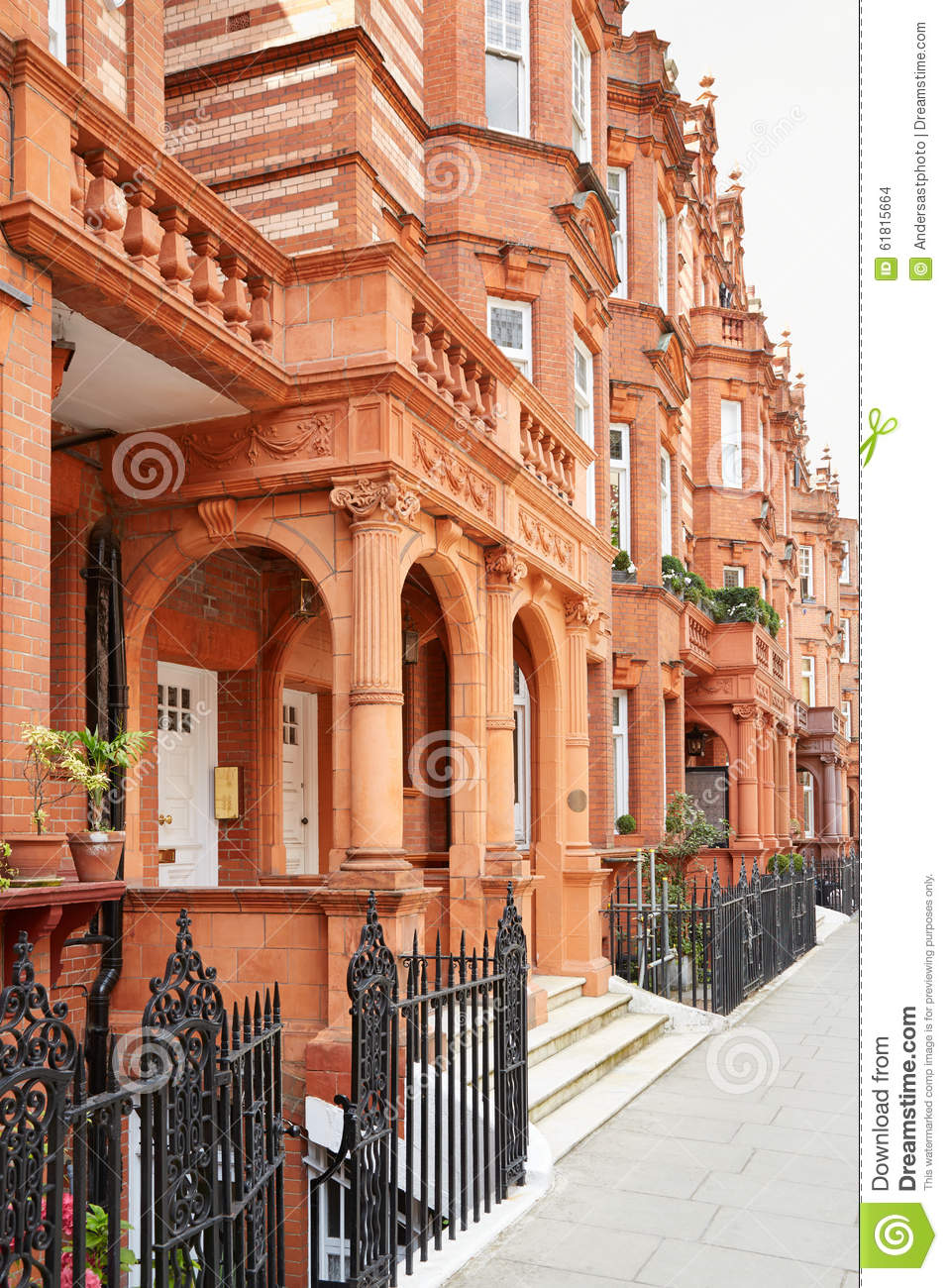 maisons de briques rouges londres photo stock image