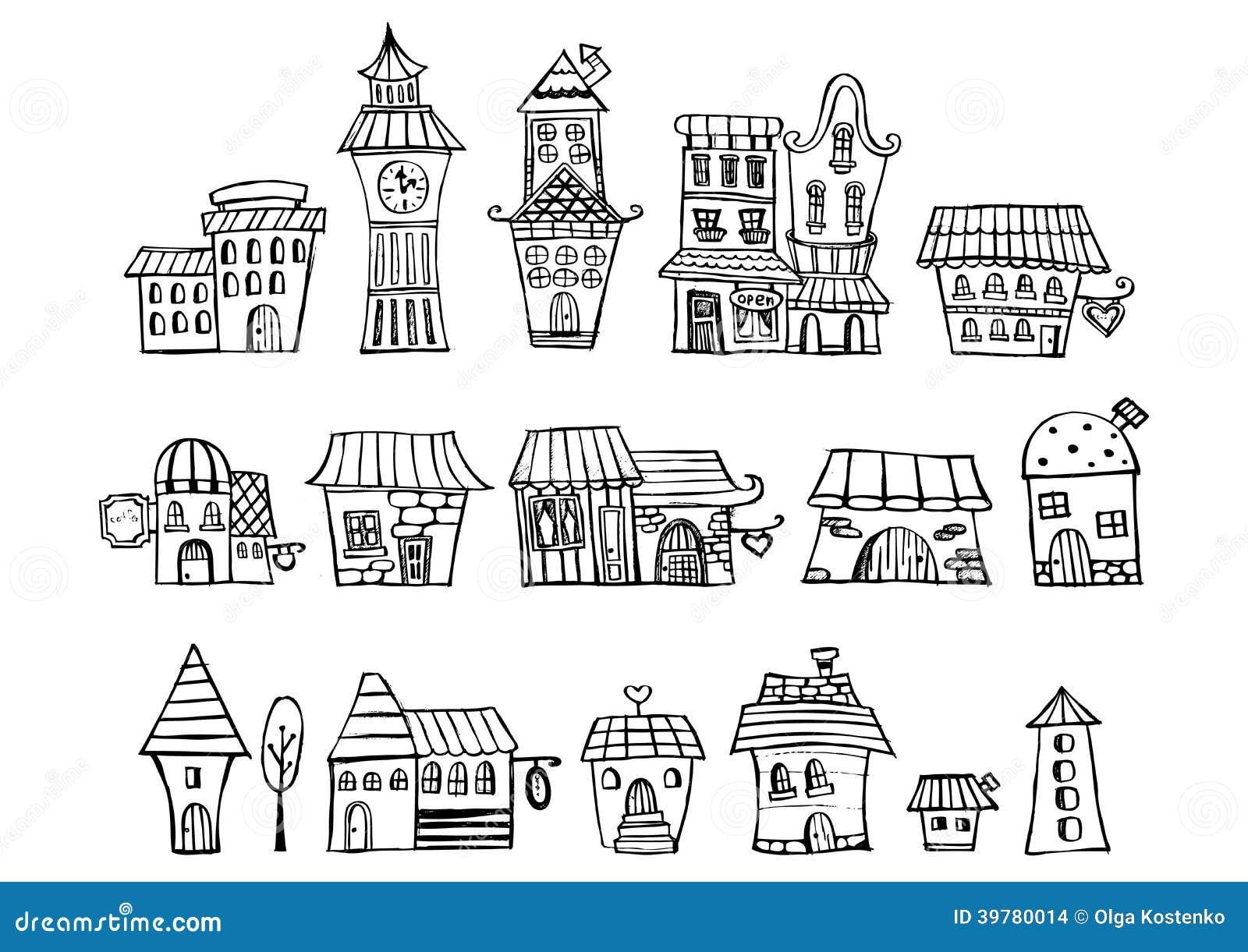 Maisons de dessin de conte de f es de vecteur de bande - Maison en dessin ...