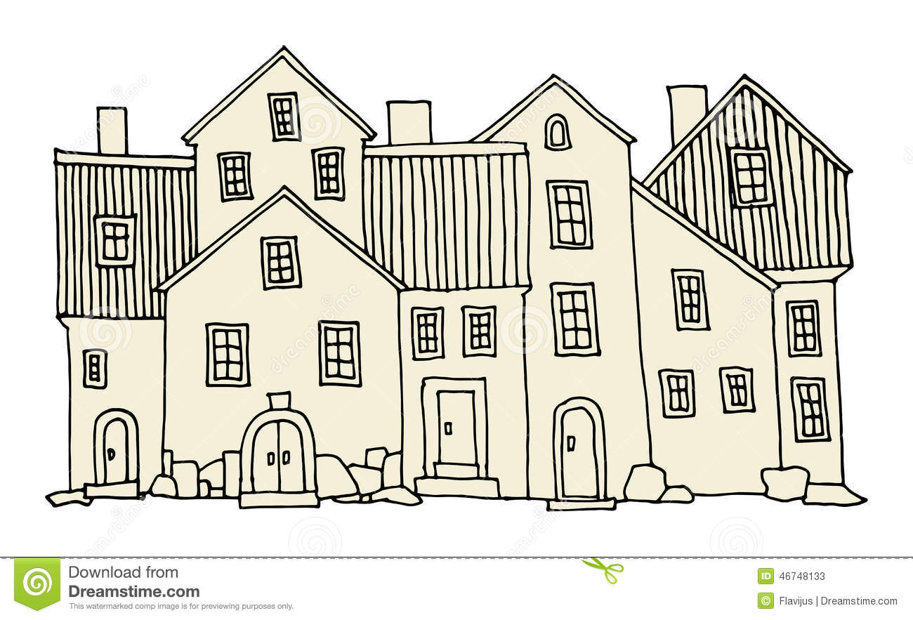 Maisons de dessin de main illustration de vecteur image for Image maison dessin