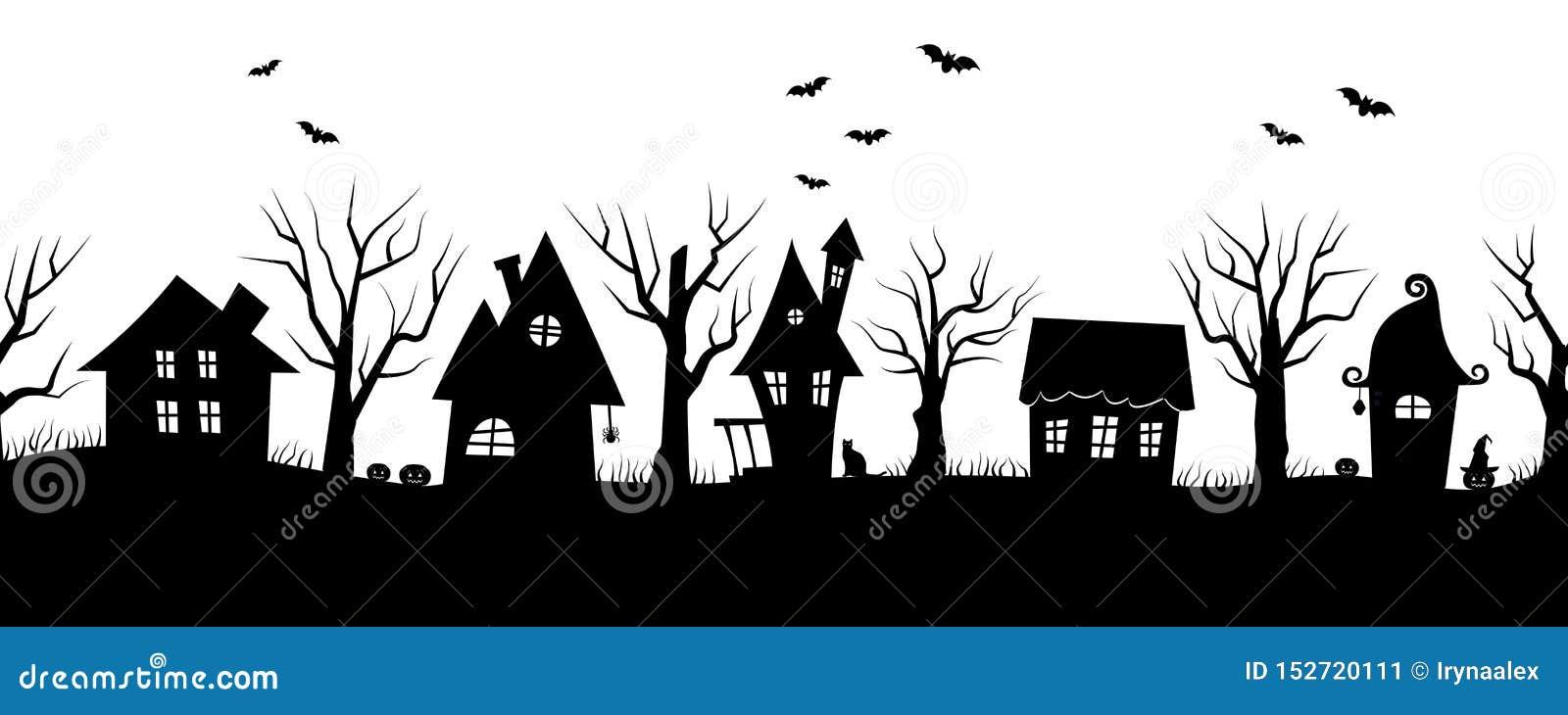 Maisons de Halloween Village fantasmagorique Cadre sans joint