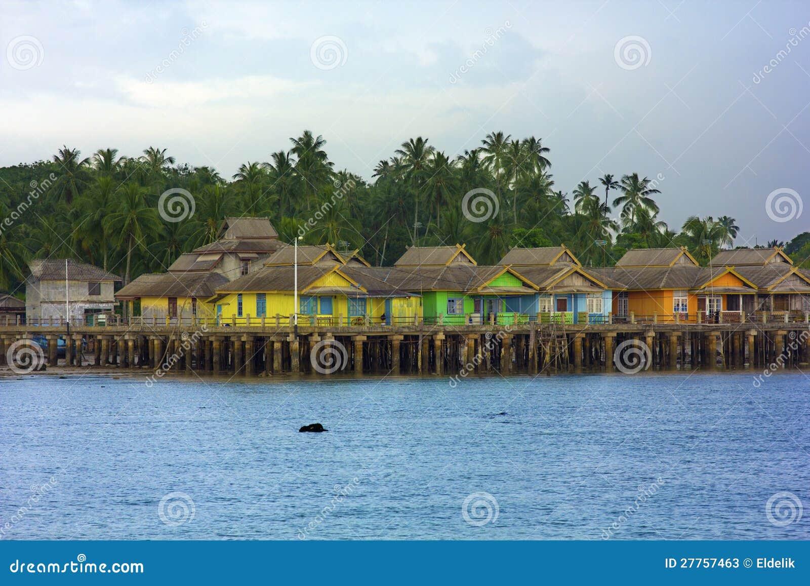 Maisons en bois, île de Penyengat, Indonésie