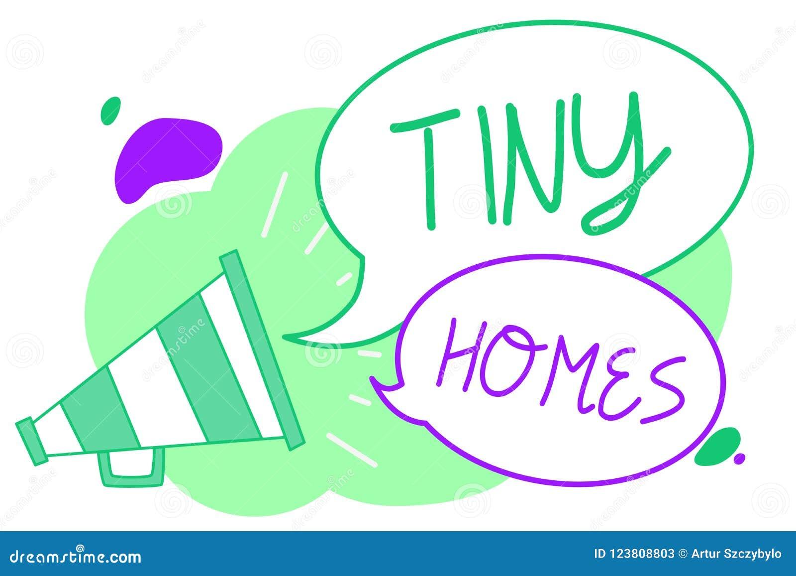 Maisons minuscules des textes d écriture Les maisons de signification de concept contiennent une pièce seulement ou deux et PS bo