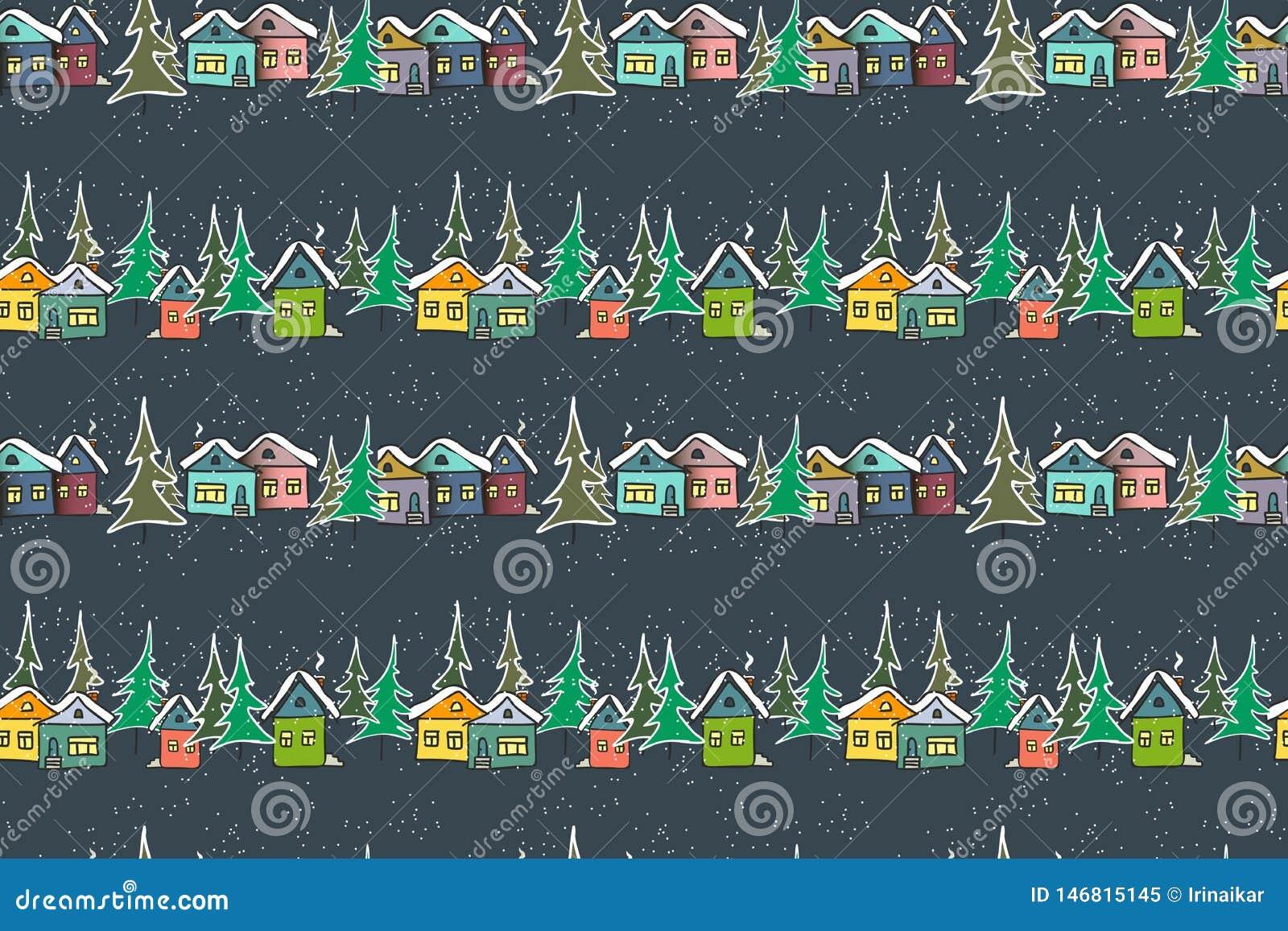 Maisons multicolores de caramel fabuleux sur le fond de bleu marine