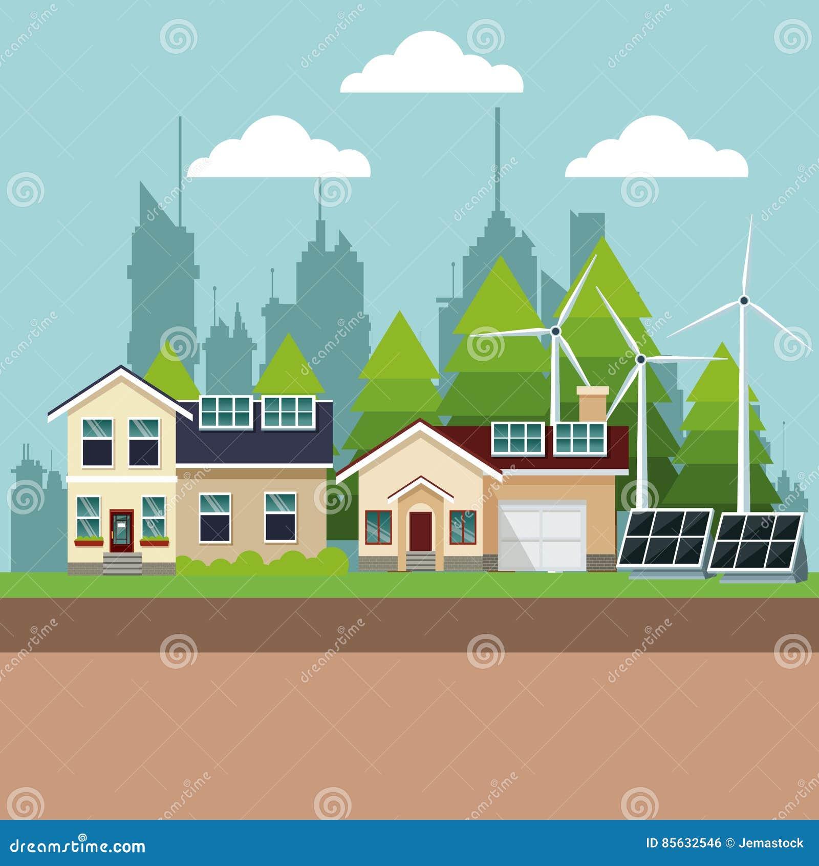 Maisons suburbaines avec de l énergie environnementale