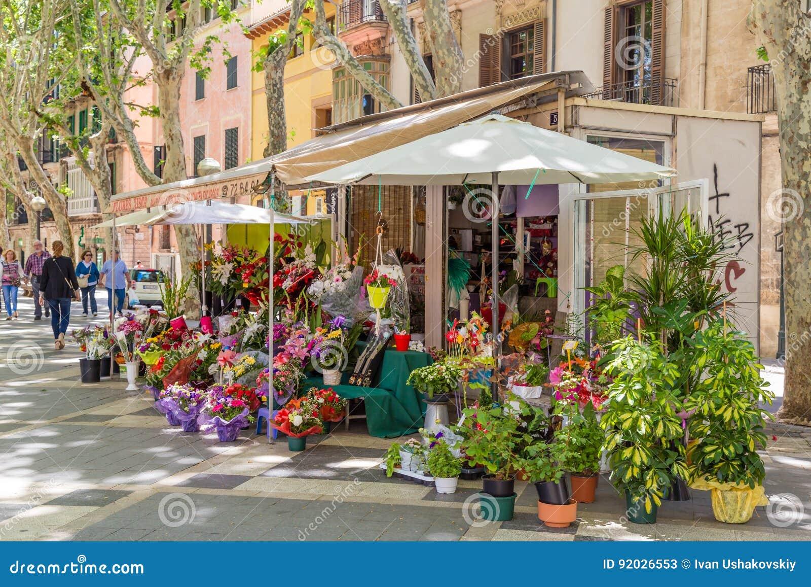 14 Maj 2016 Blomsterhandel i Palma de Mallorca, Spanien