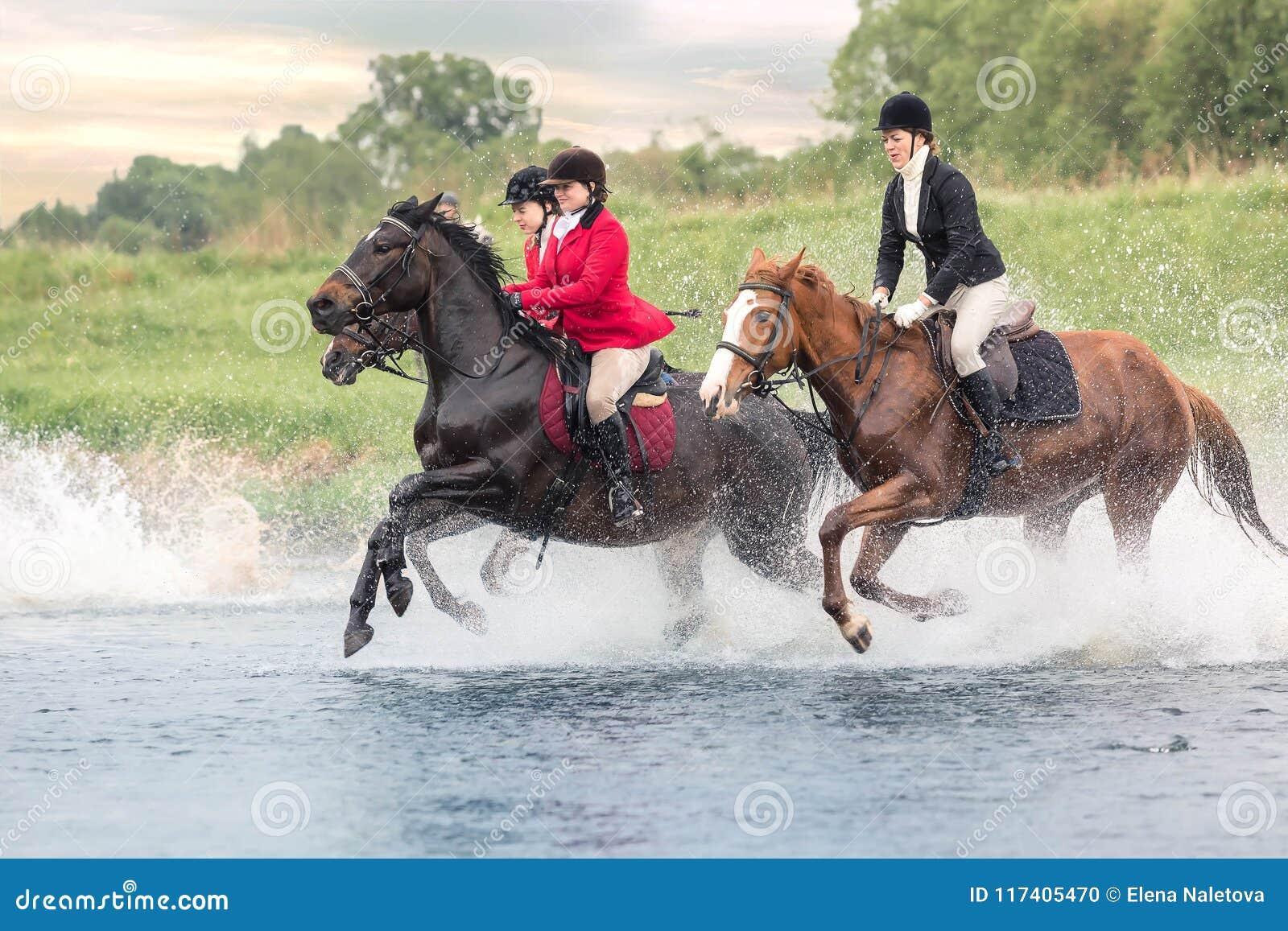 Maj 20, 2018 moscow Styrka för tre skickliga ryttarinnor, genom att vada hästarna för flod grensle
