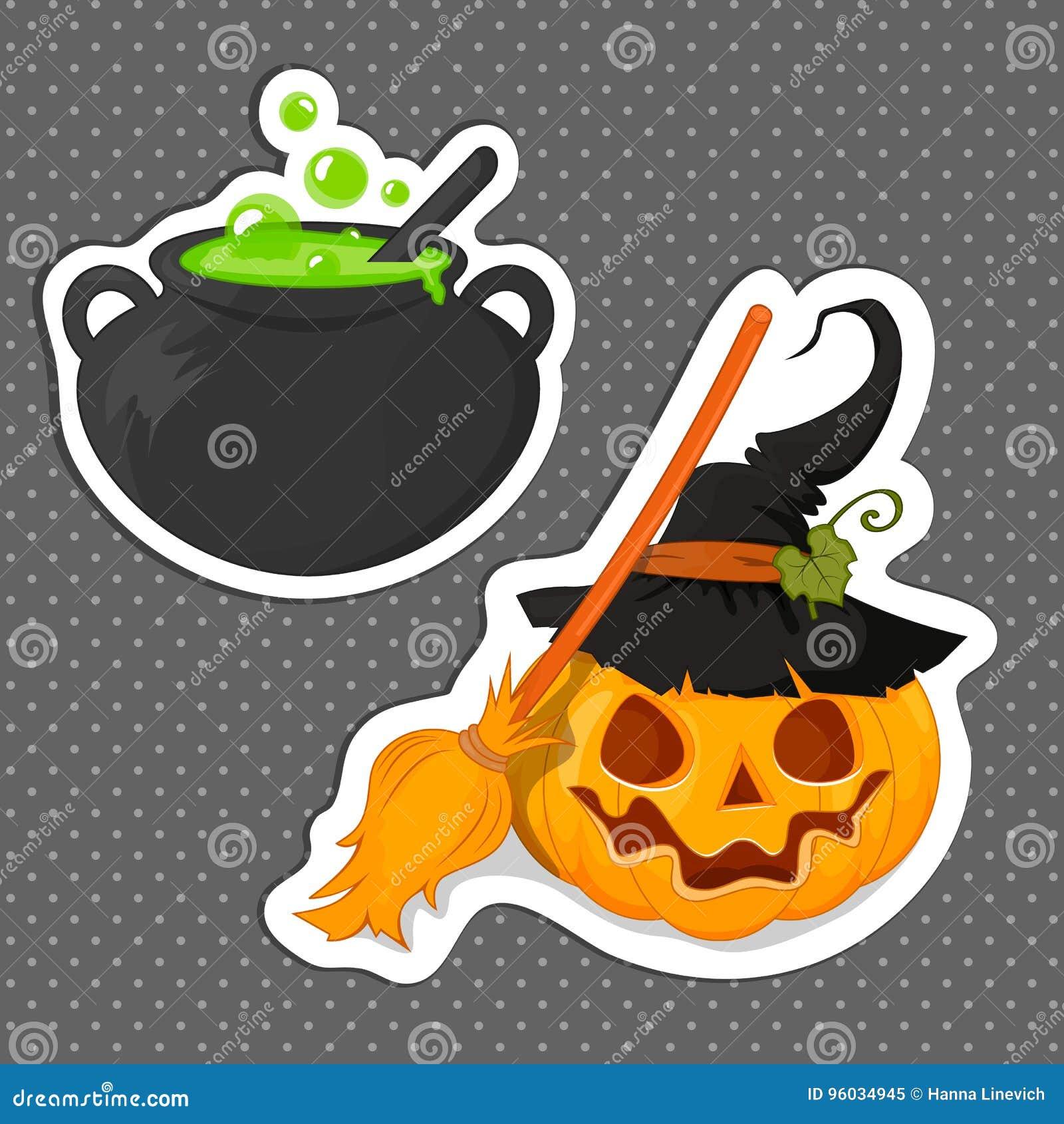 Majcher Halloween dla twój projekta Napój miłosny bania z miotłą i czarownica Płaski projekt tła czerń łuny Halloween czerwieni s