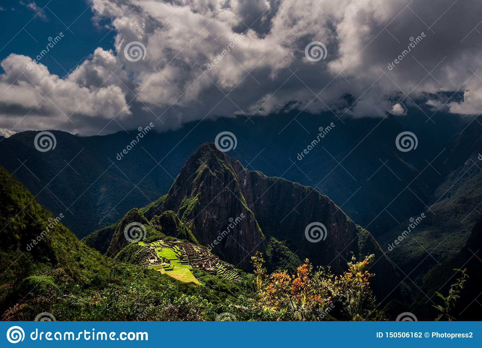 Majestic aerial view on the Machu Picchu / Huayna Picchu mountain