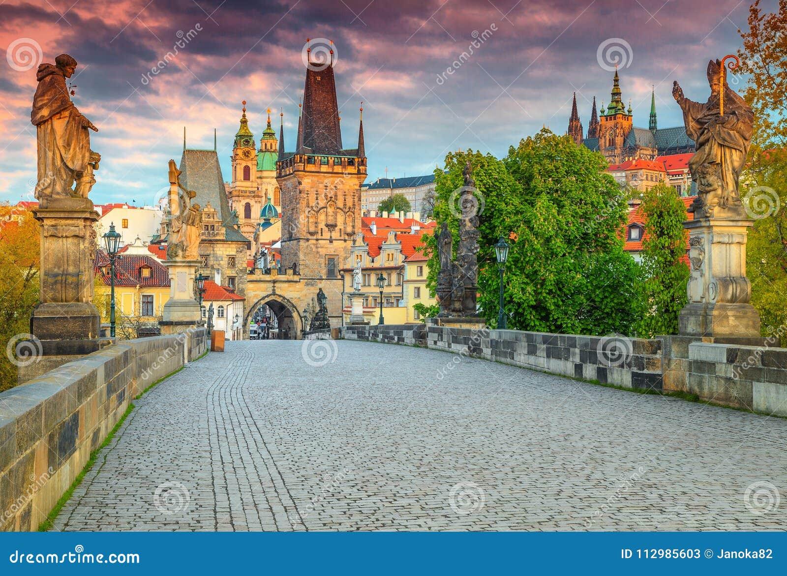 Spectacular medieval stone Charles bridge with statues, Prague, Czech Republic