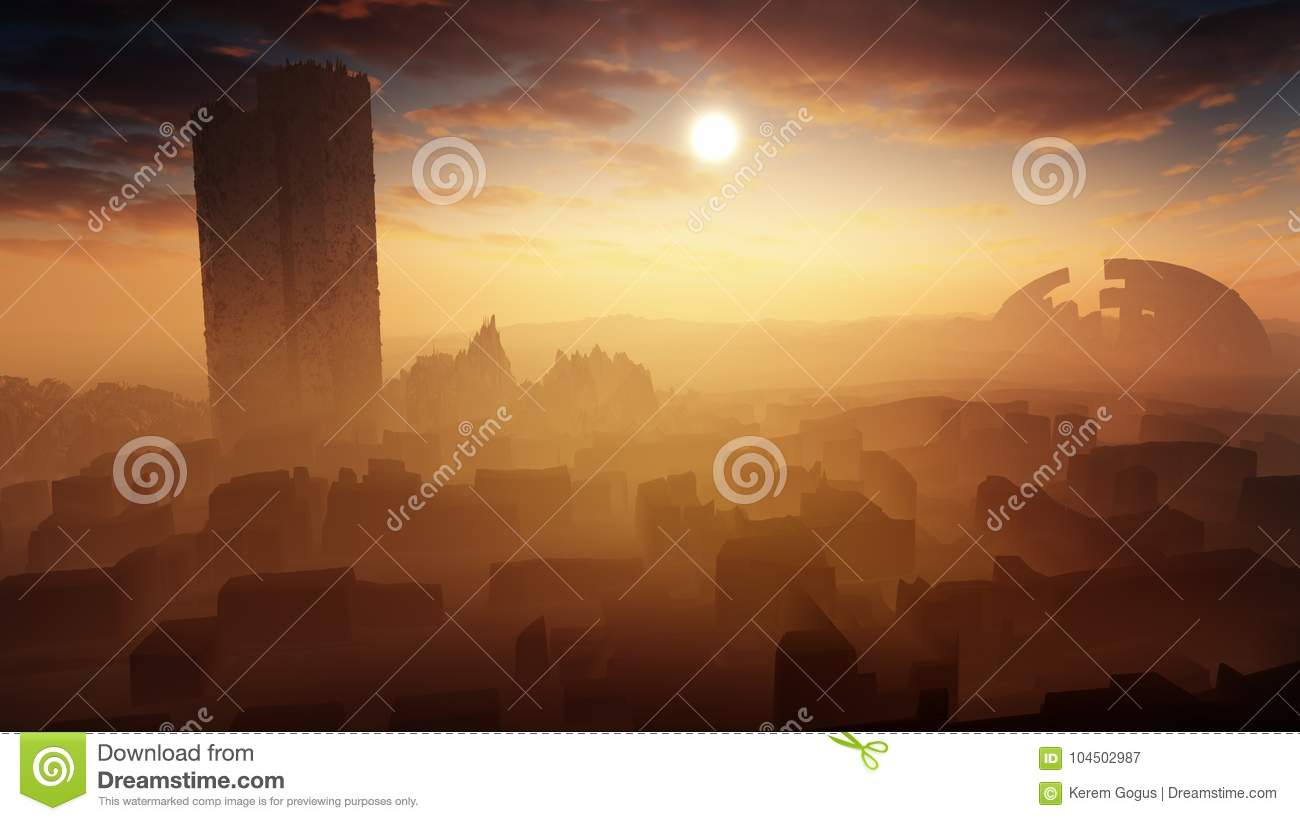 Majestic Desert Landscape With Ancient City Ruins Stock Illustration Illustration Of City Distant 104502987