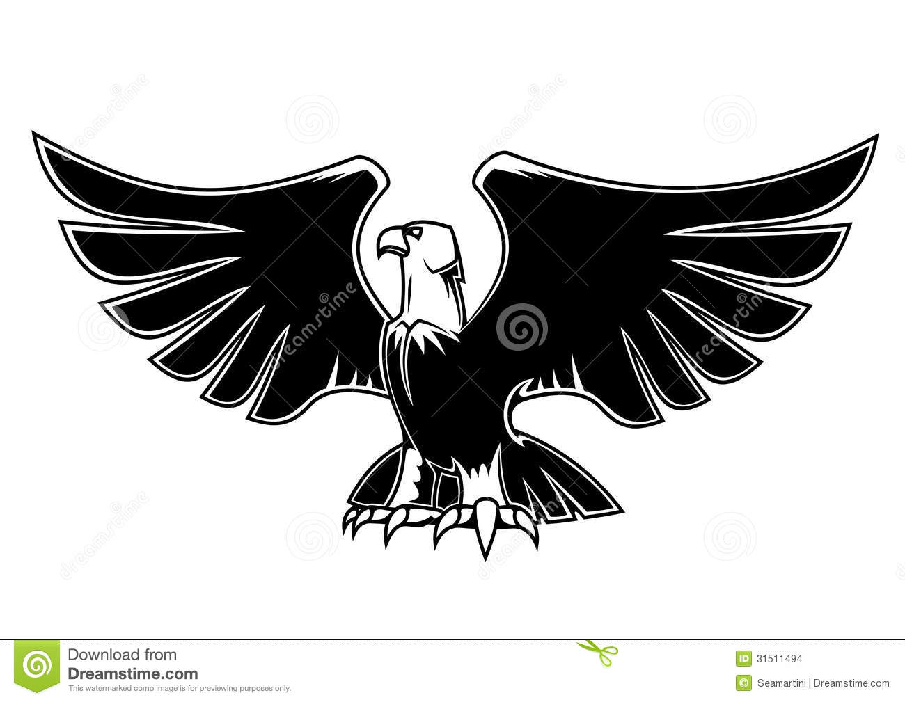 Majestic Eagle With Open Wings Stock Vector Illustration Of