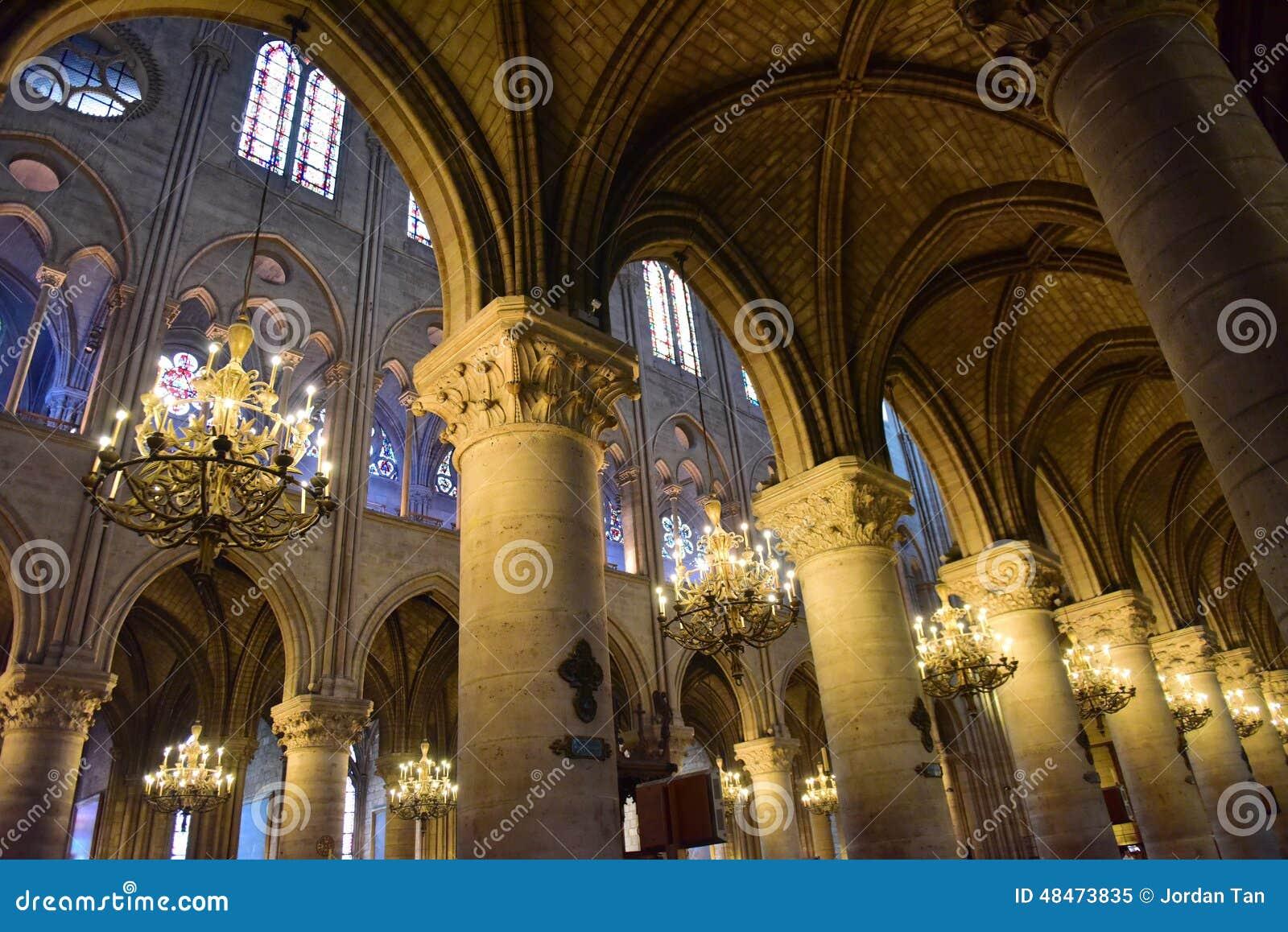 Majestic Interior Of The Famous Notre Dame De Paris ...