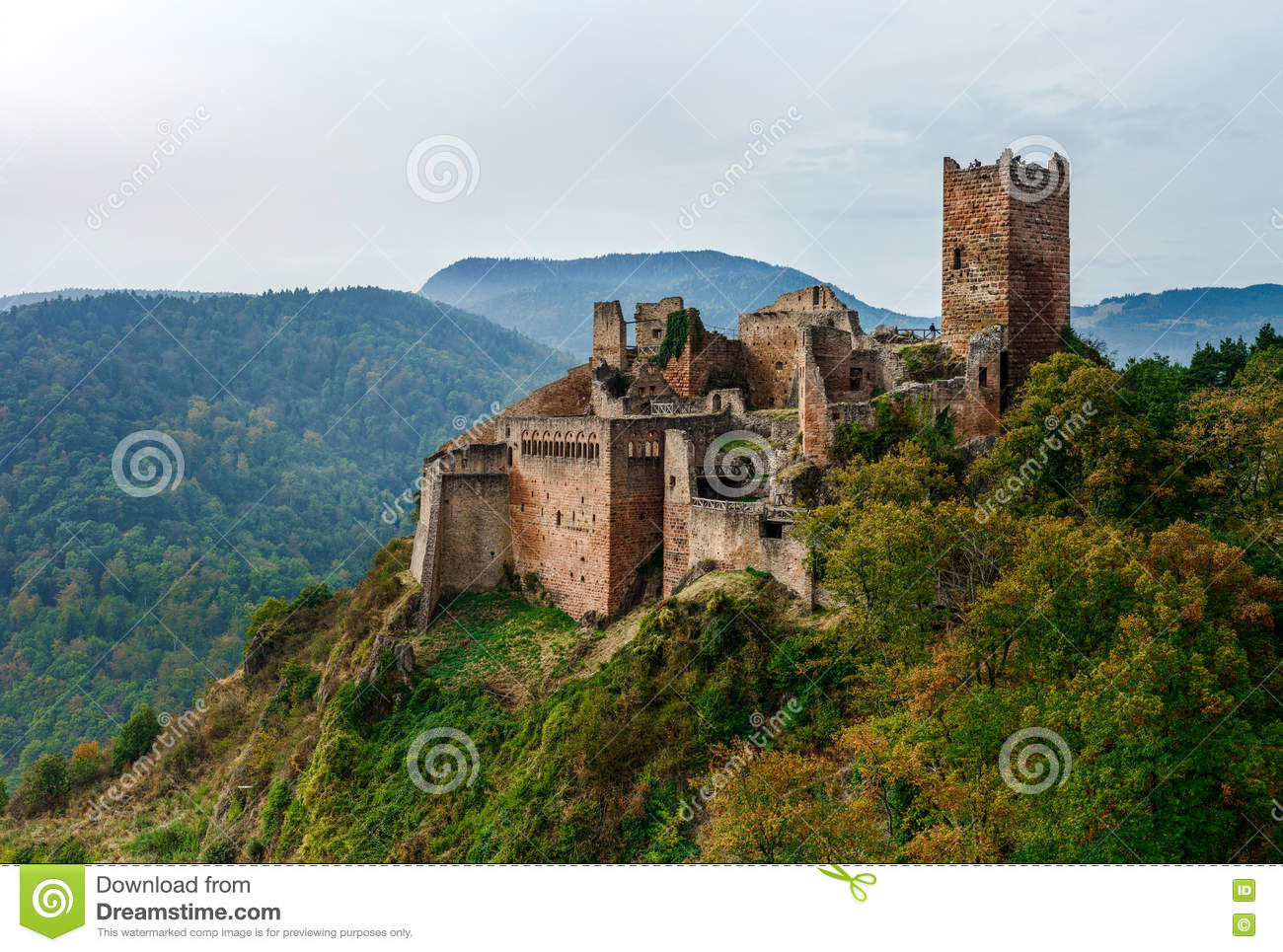 Majestic medieval castle Saint-Ulrich on the top of the hill
