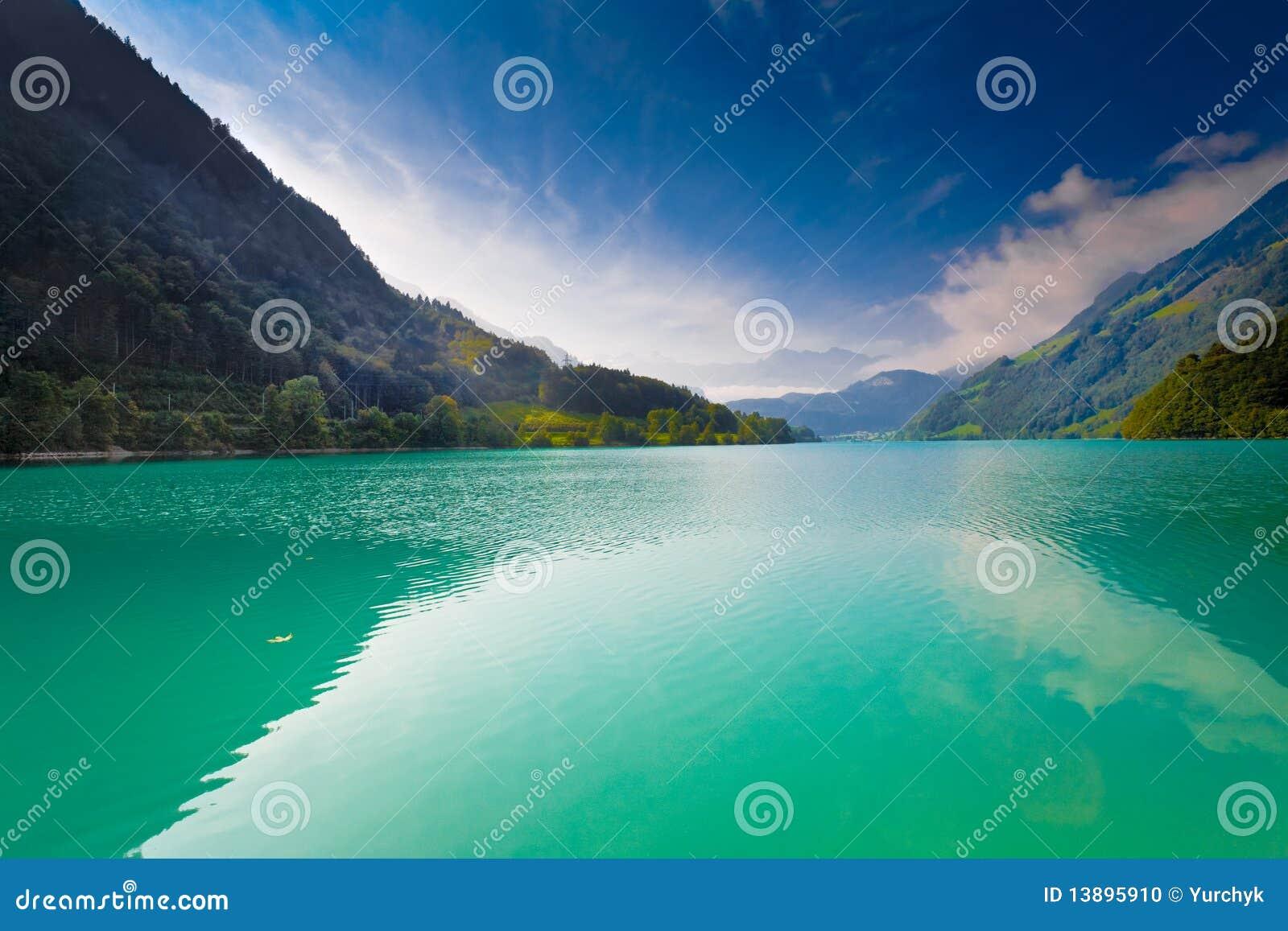Majestic mountain lake in Switzerland