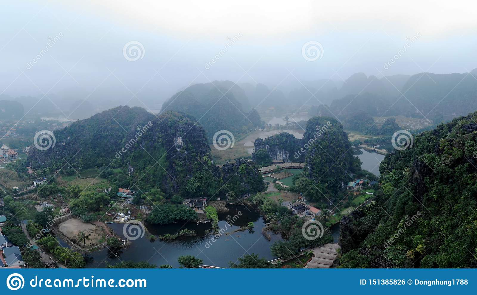 The majestic mountains landscape with the surrounding river