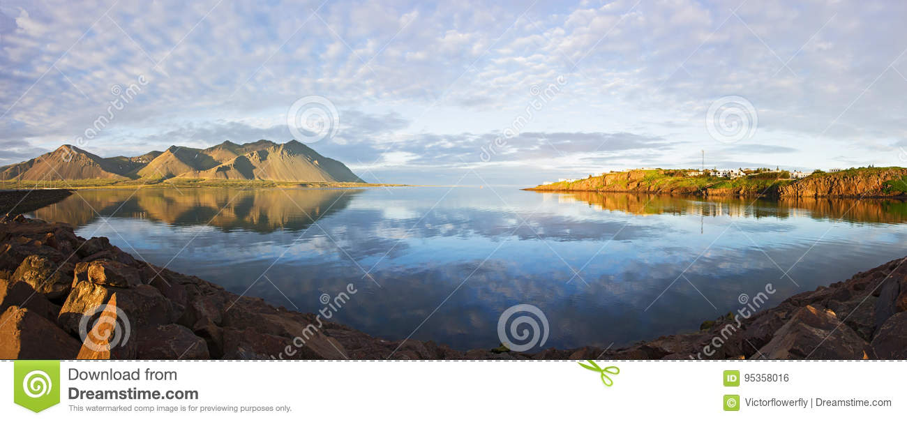 Majestic Panoramic summer view of West Icelandic delta near Borganes with reflection on water, Iceland
