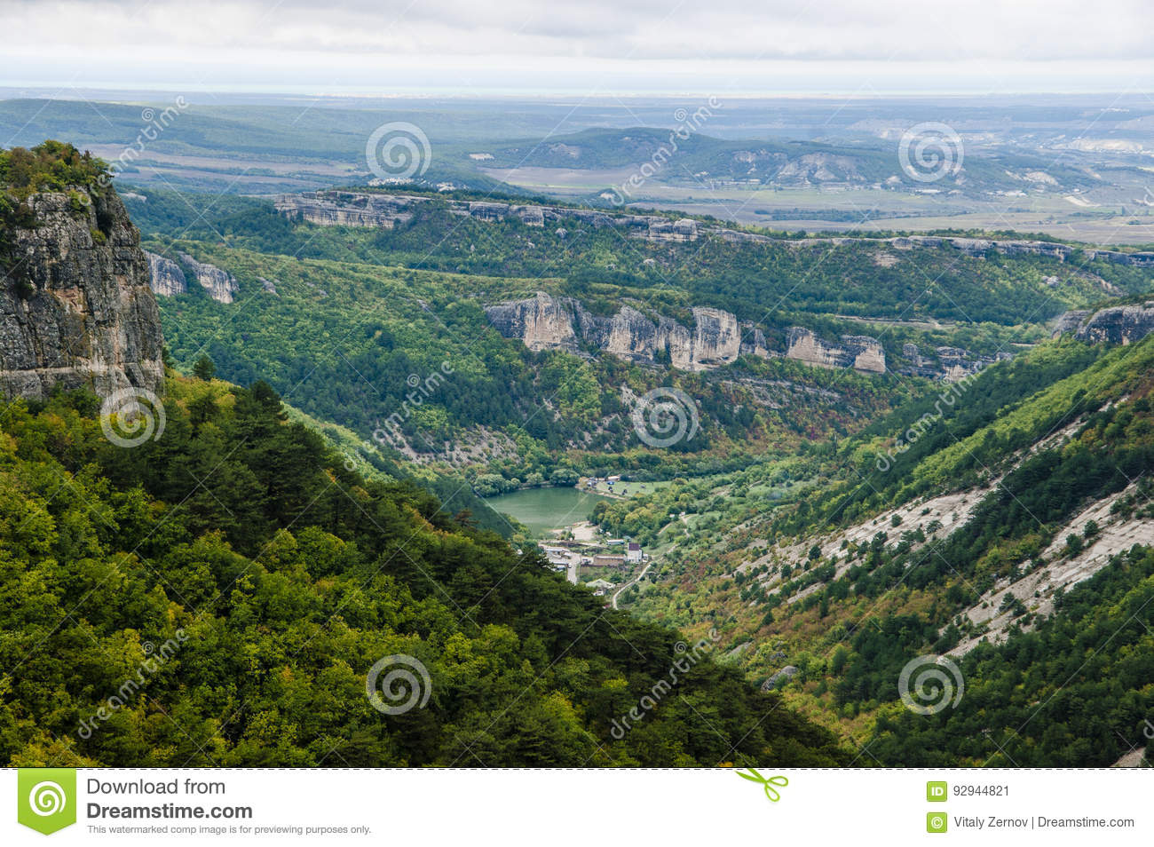 Majestic view from above on Crimean mountains