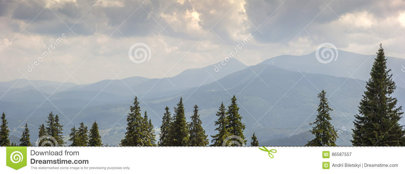 Majestic view on beautiful fog mountains in mist landscape. Dram