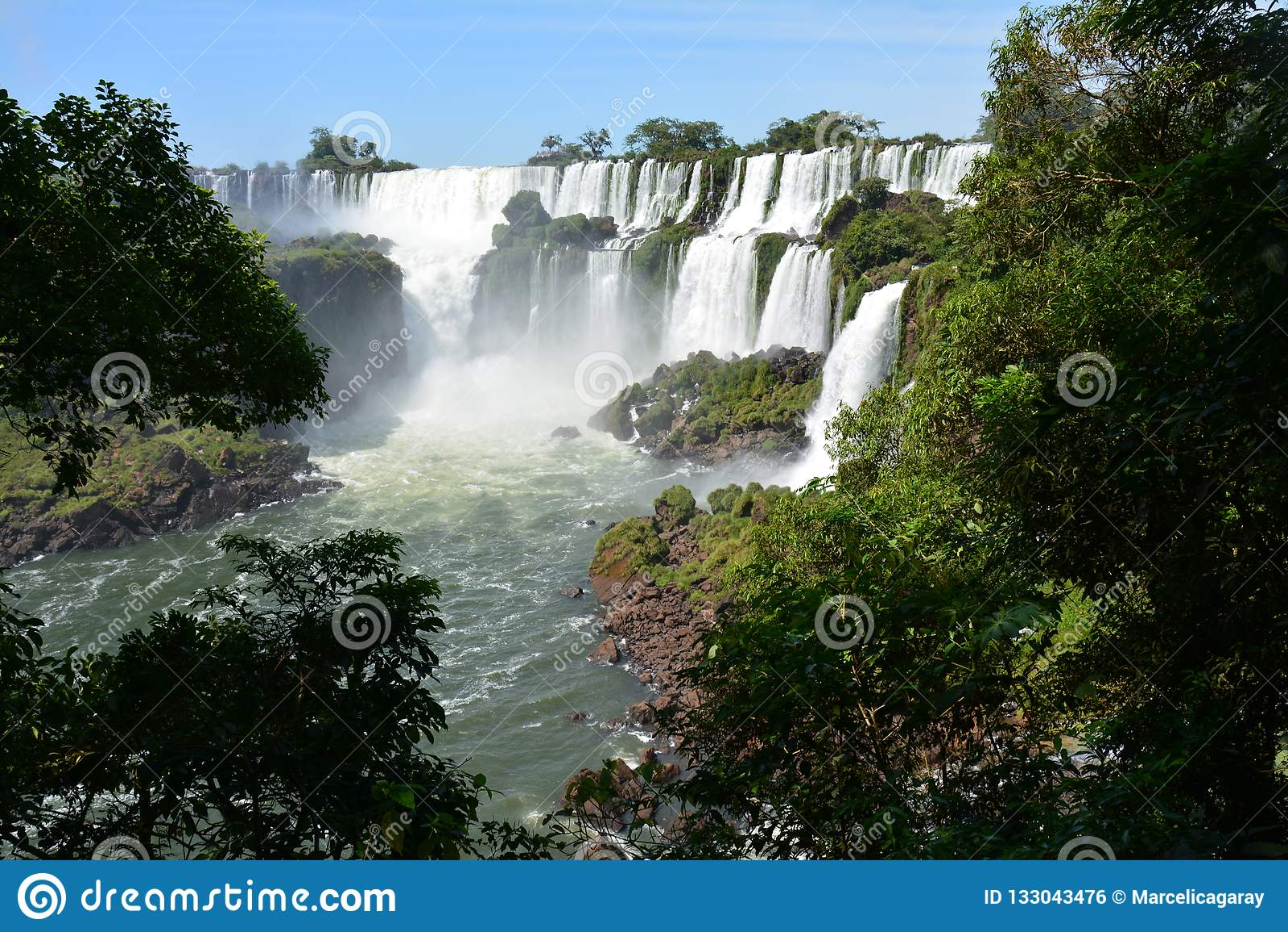 Beautiful Iguazu Falls In Argentina South America Stock Photo