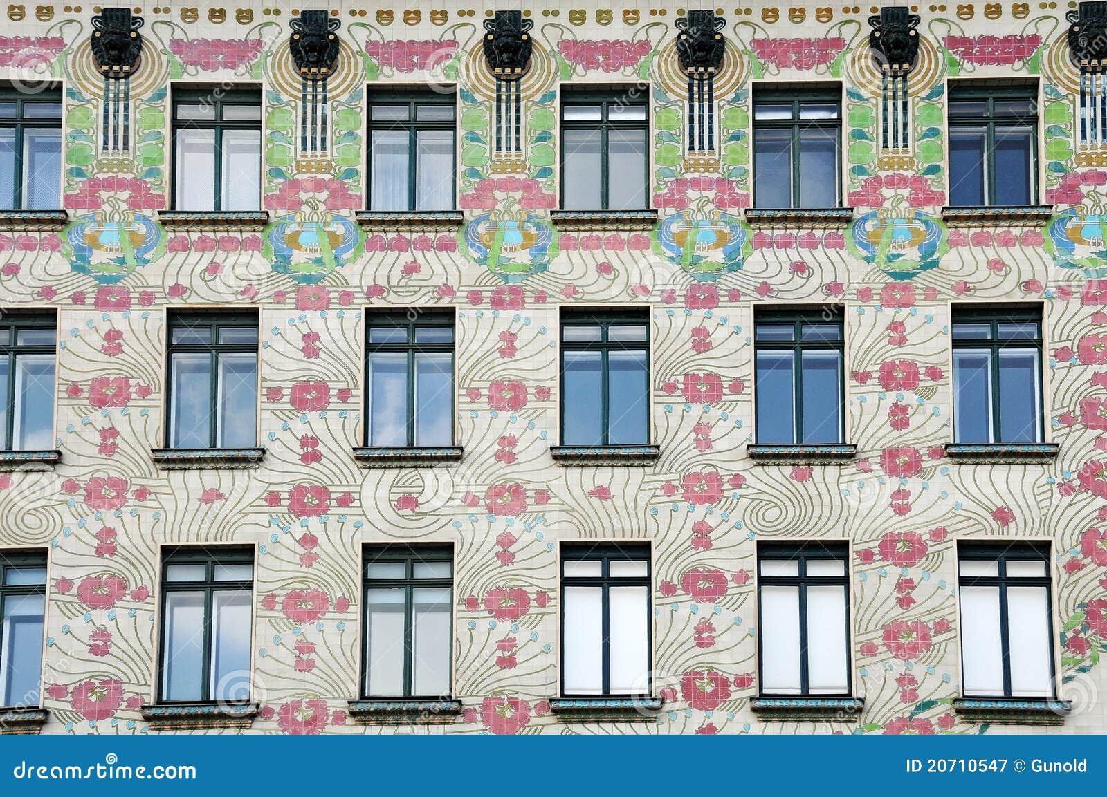 majolikahaus art nouveau architecture editorial photography image 20710547. Black Bedroom Furniture Sets. Home Design Ideas