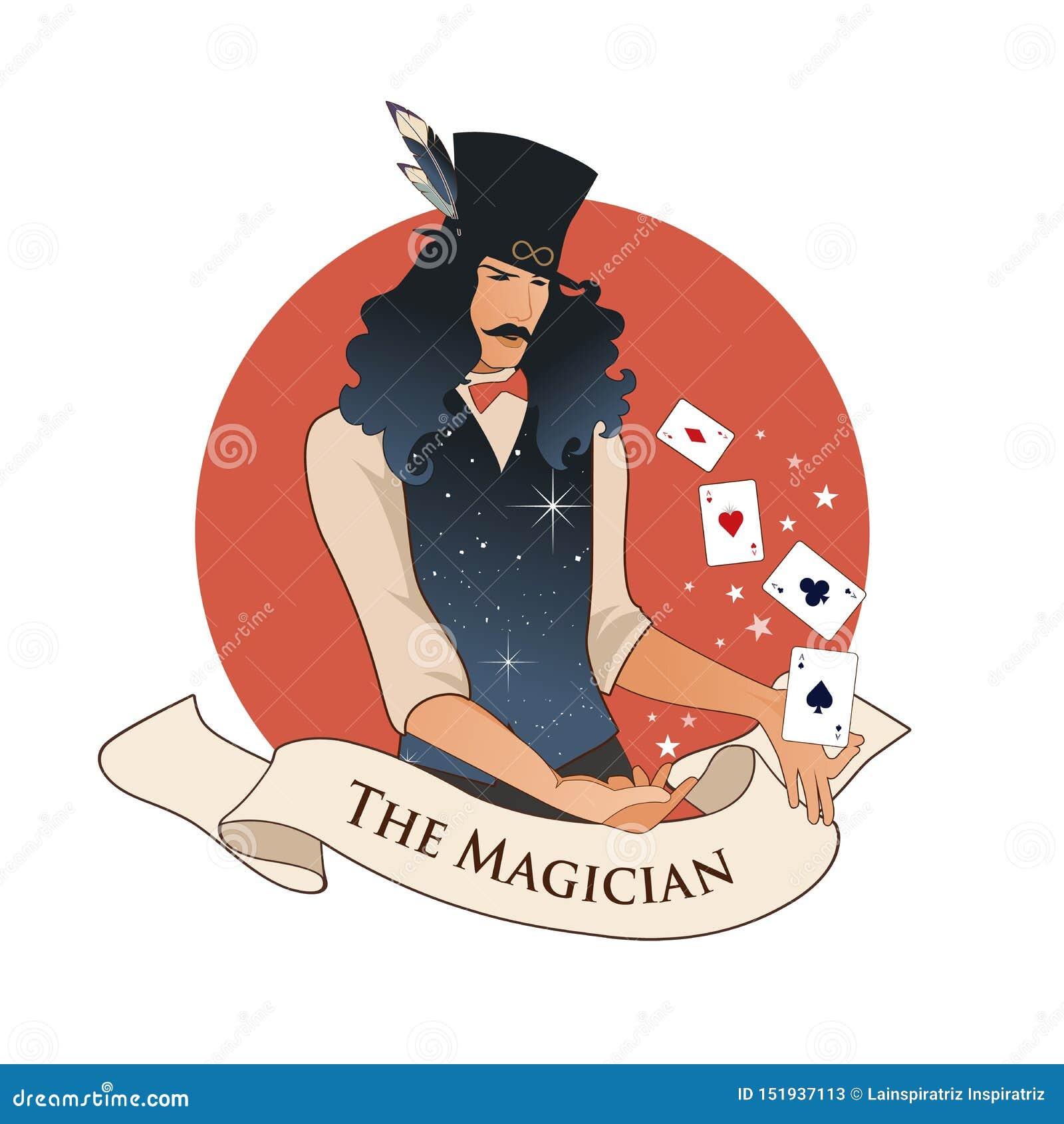 Major Arcana Emblem Tarot Card Der Magier mit dem Schnurrbart und Zylinder, einen magischen Stab halten, der Magie mit Spielkarte