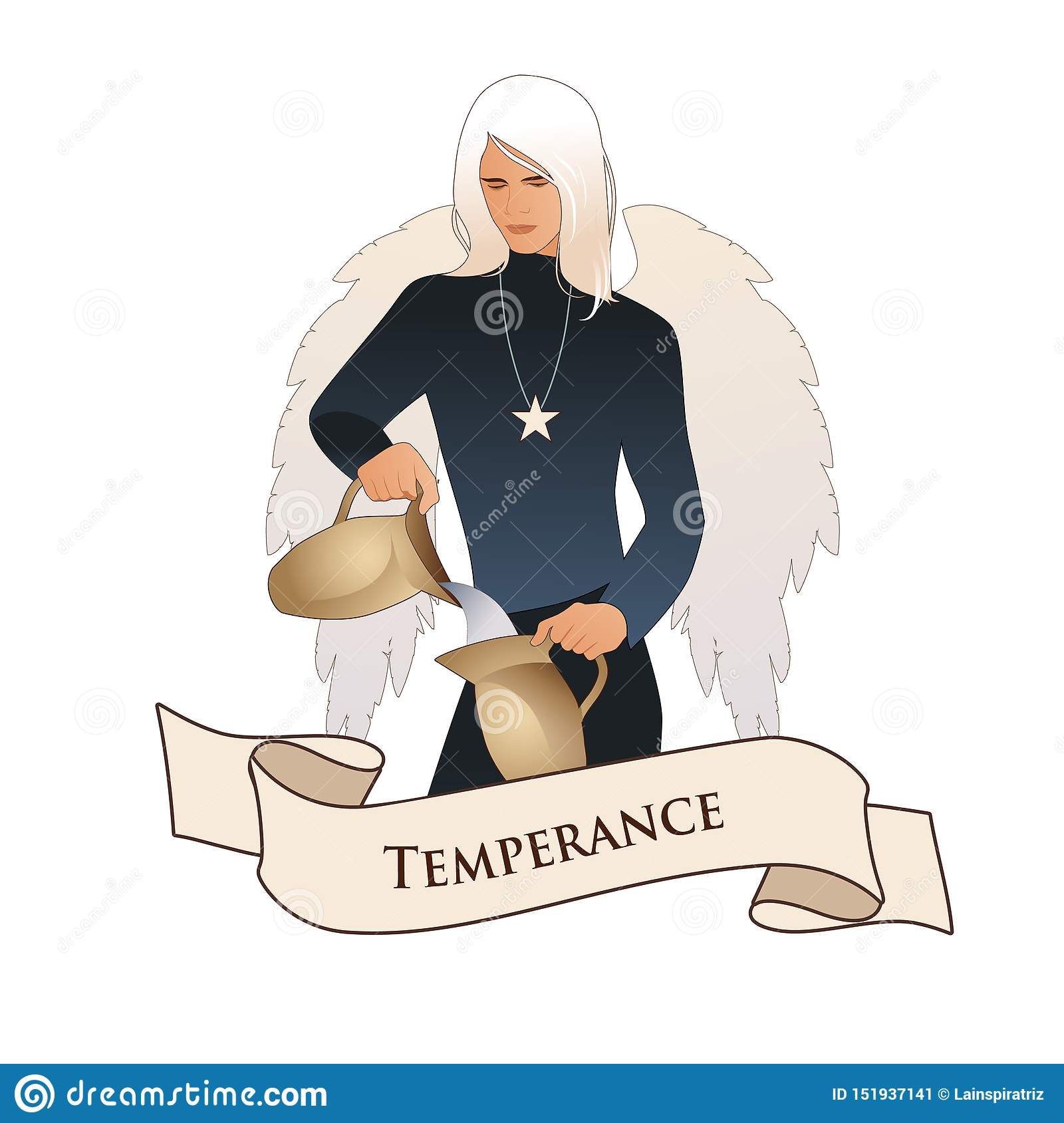 Major Arcana Emblem Tarot Card. Temperance. Angel with appearance and clothes of young man, great wings, hair fair, pouring water