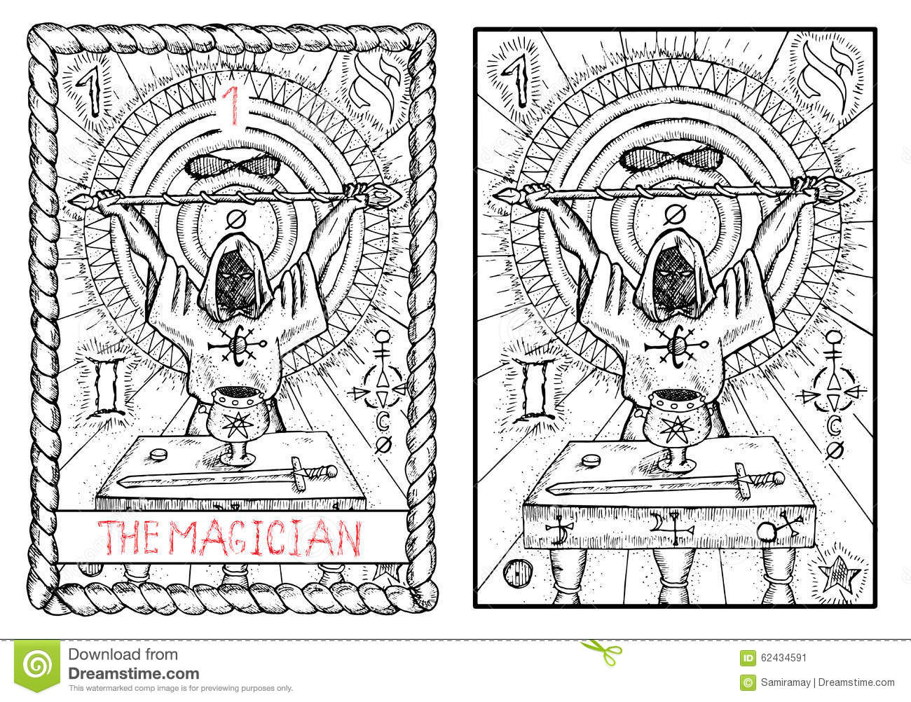 The Major Arcana Tarot Card  The Magician Stock Vector