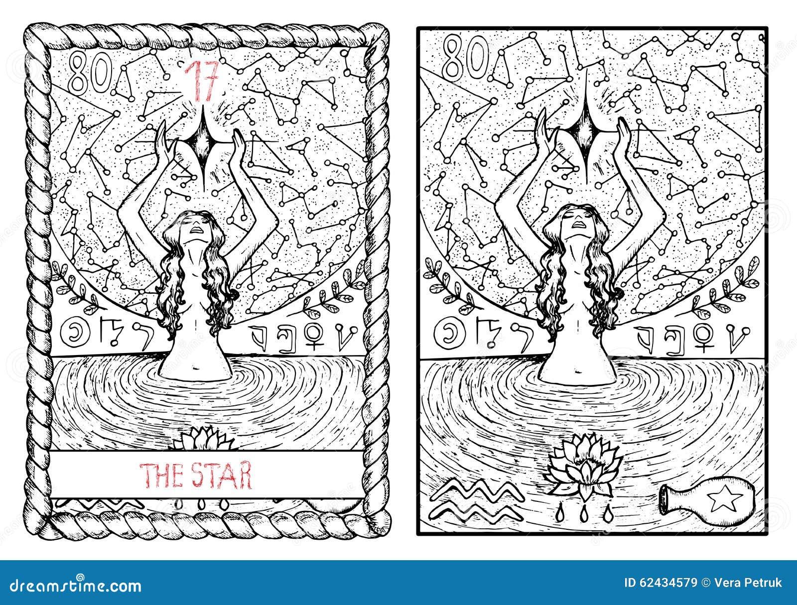 The Major Arcana Tarot Card. The Star Stock Vector ...