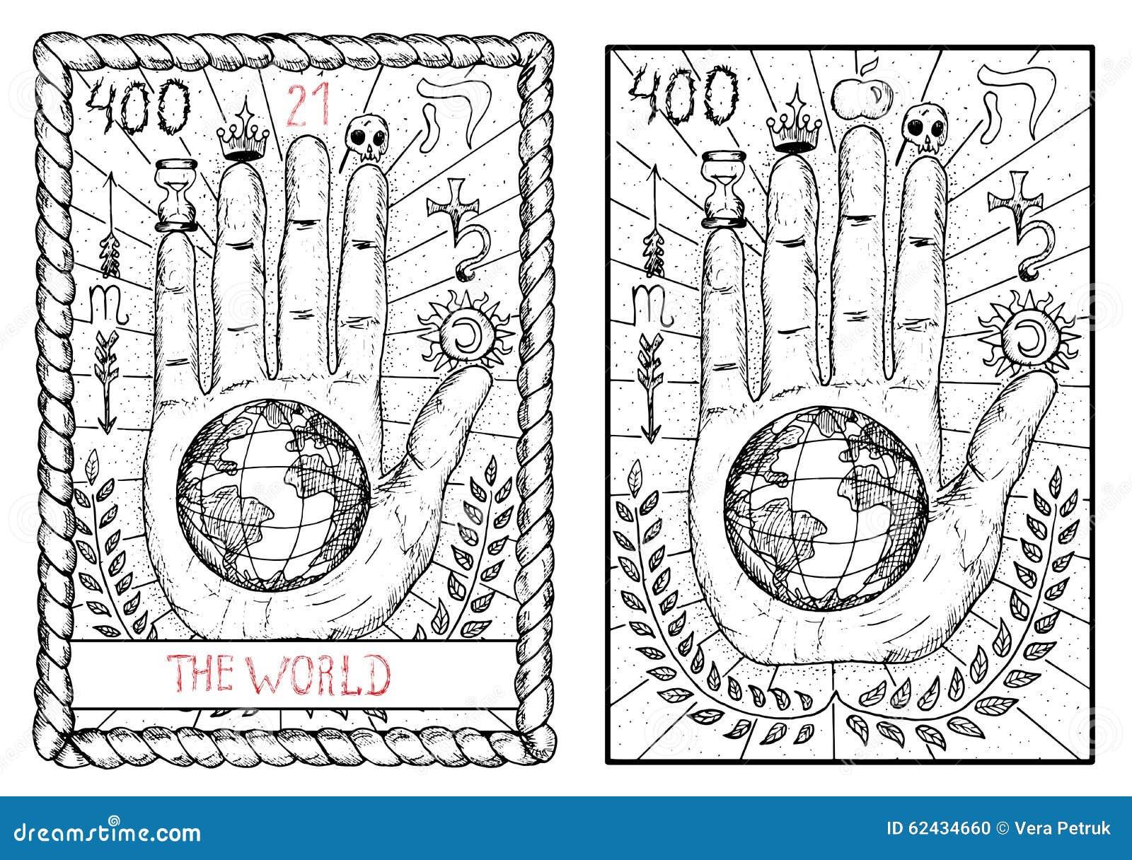 The Major Arcana Tarot Card. The World Stock Vector ...