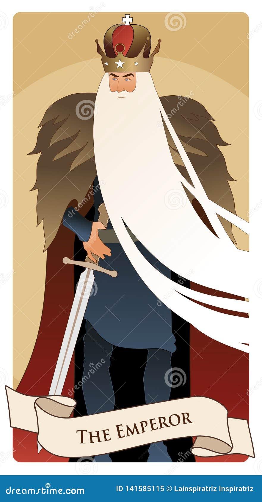 Major Arcana Tarot Cards De Keizer Mens met kroon en lange witte baard, bontkaap en zwaard bij de taille