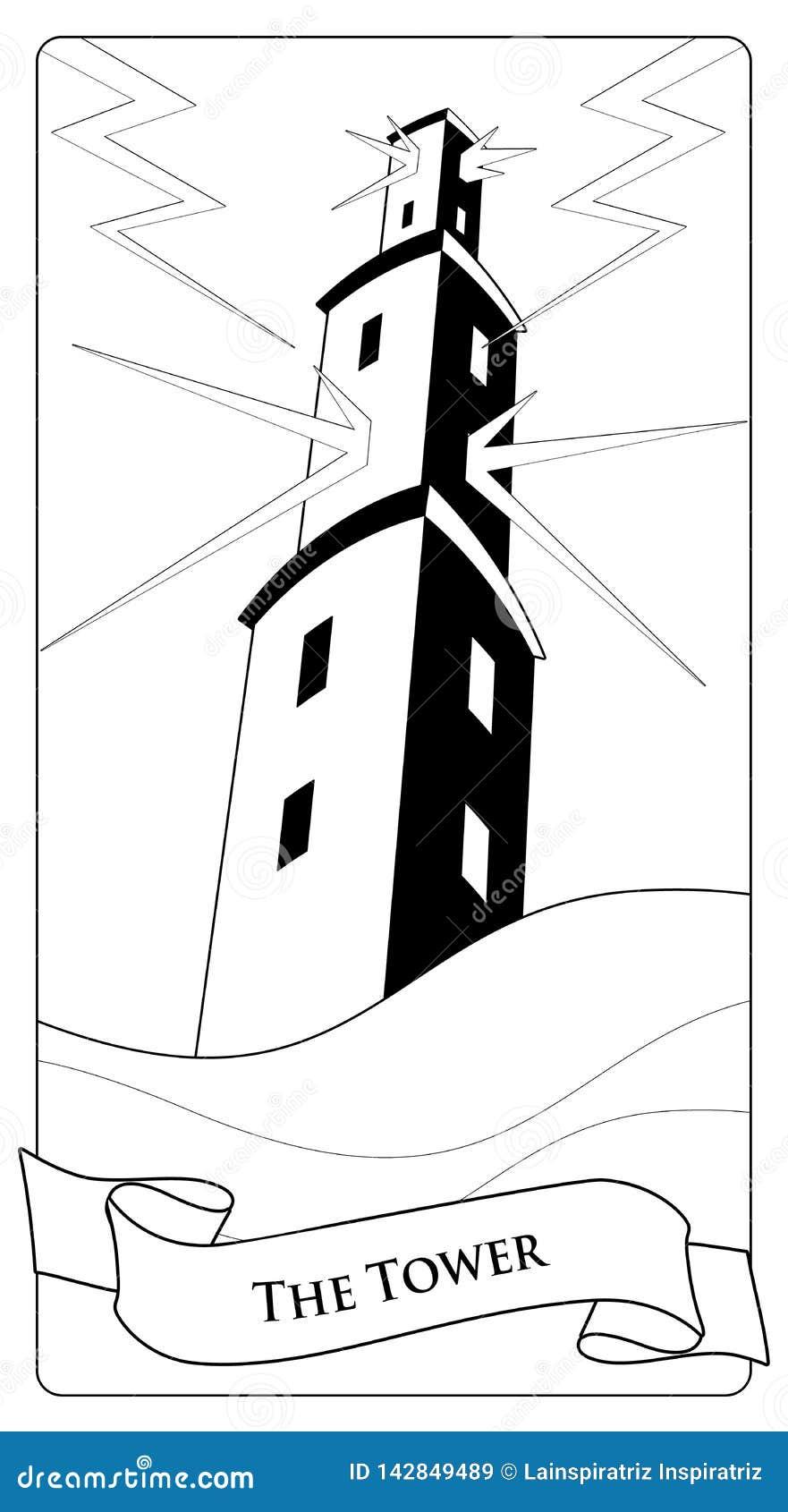 Major Arcana Tarot Cards La tour Grande tour au-dessus de mer faisante rage, sous la tempête et le mal par la foudre