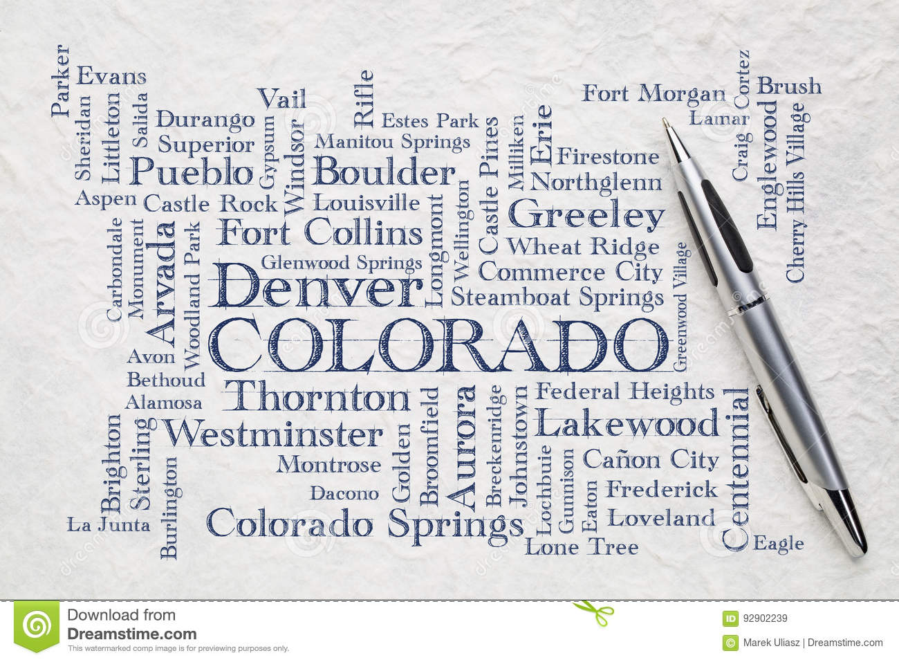 Major cities of Colorado word cloud on a lokta paper
