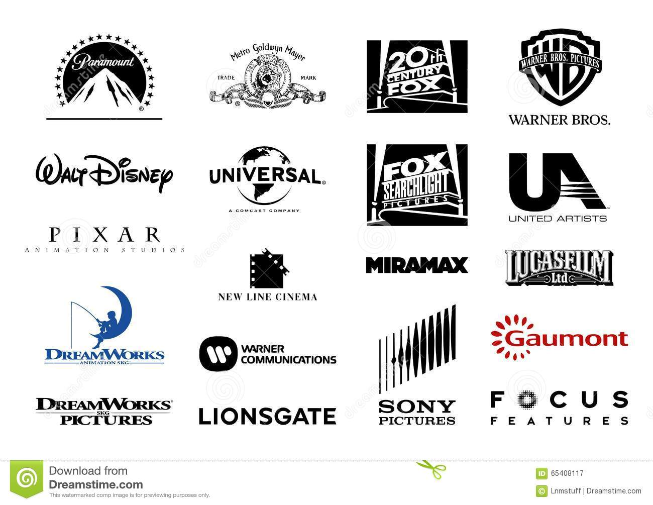 major film studios vector logos editorial photography