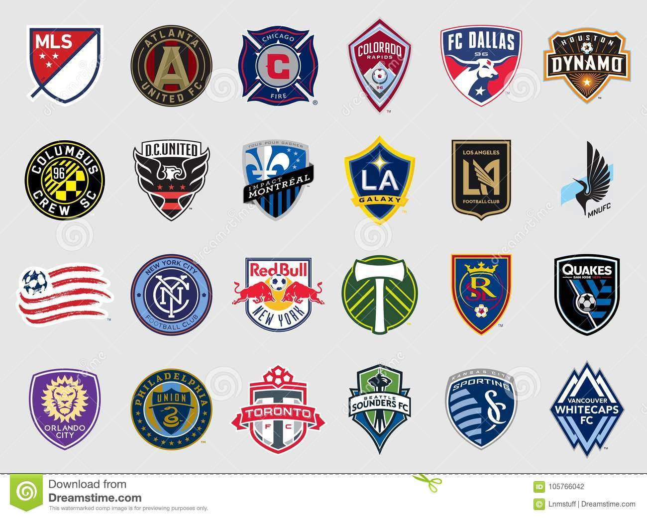 Major League Soccer Teams Logos Editorial Photography