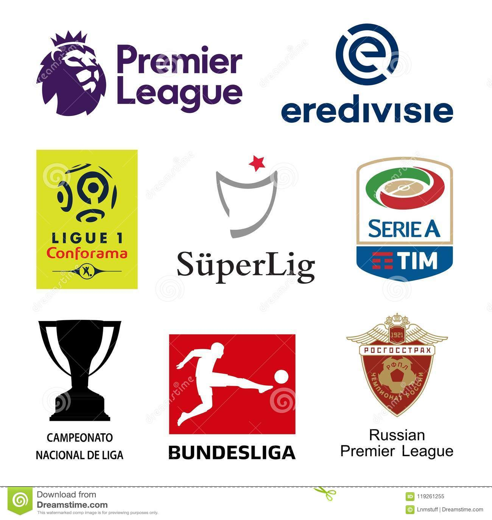 Major UEFA Football National Leagues Logos Editorial Image