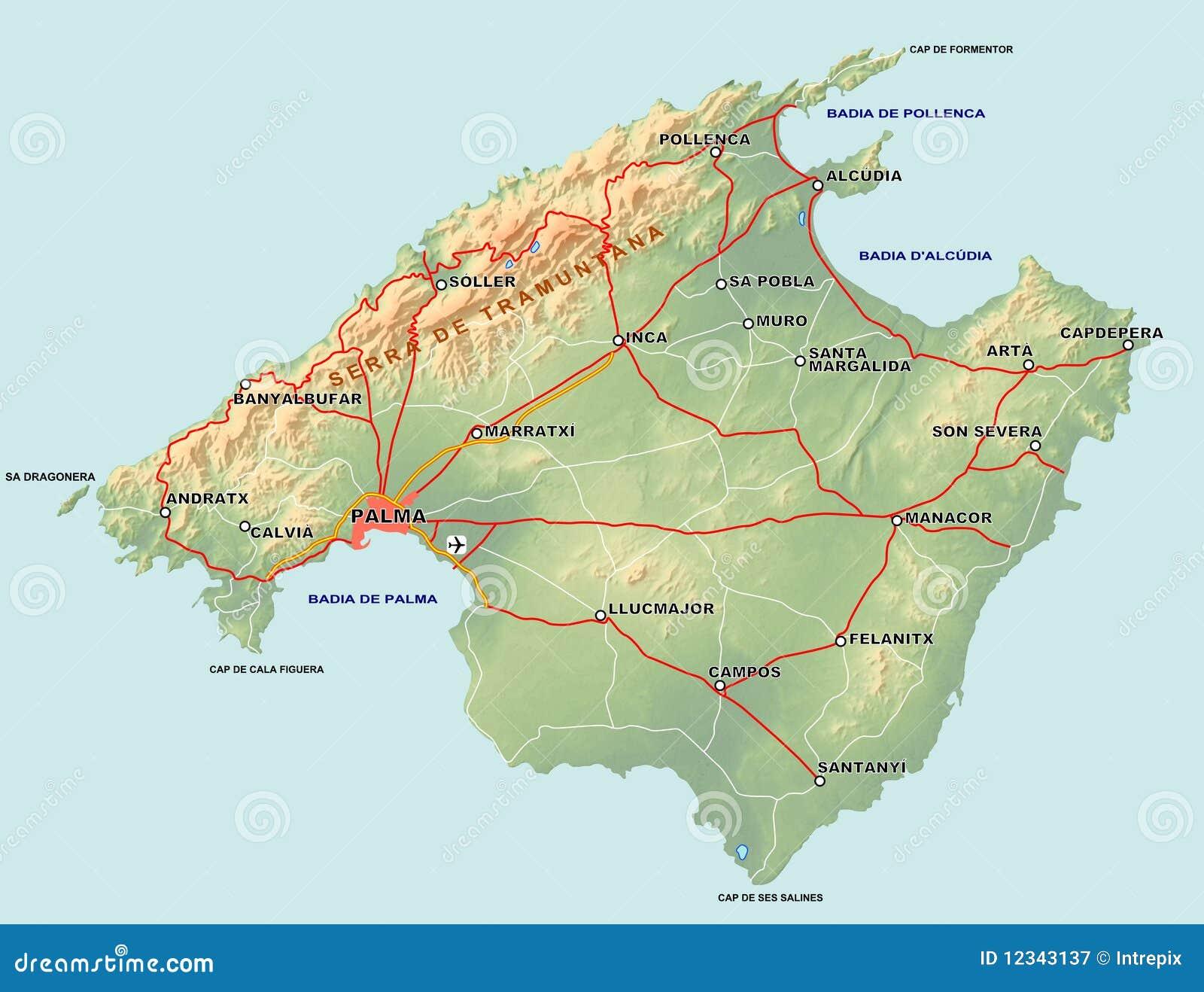 Majorca Map stock illustration Illustration of mediterranean 12343137