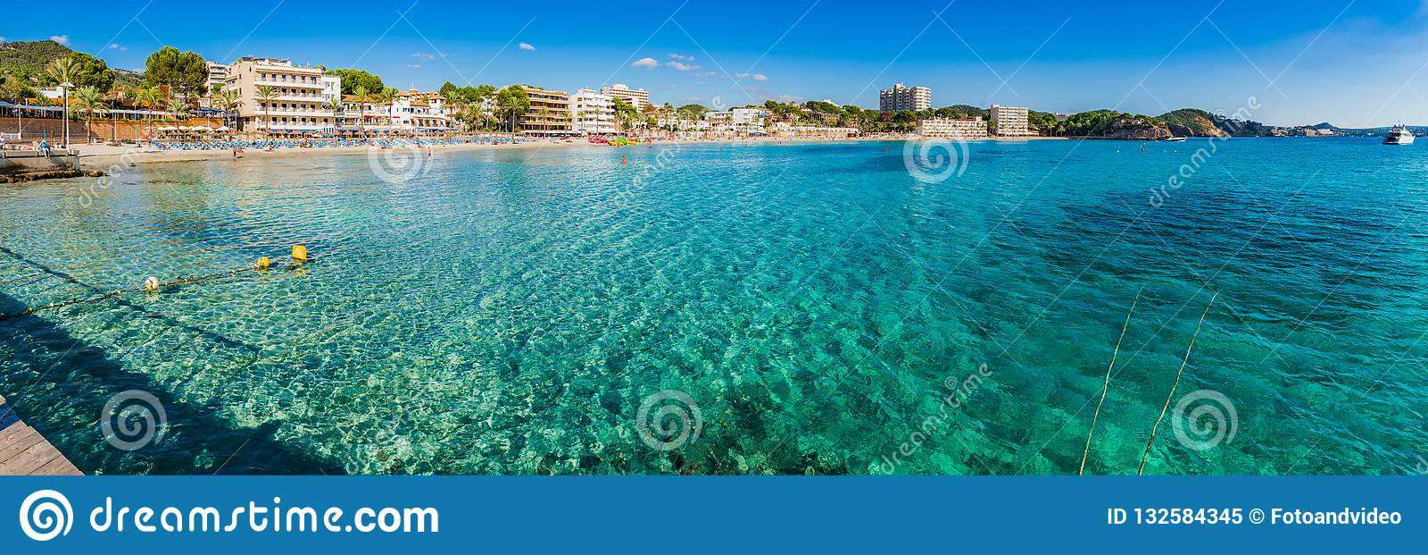 Majorca Spain, beach seaside of coast in Paguera, panorama view