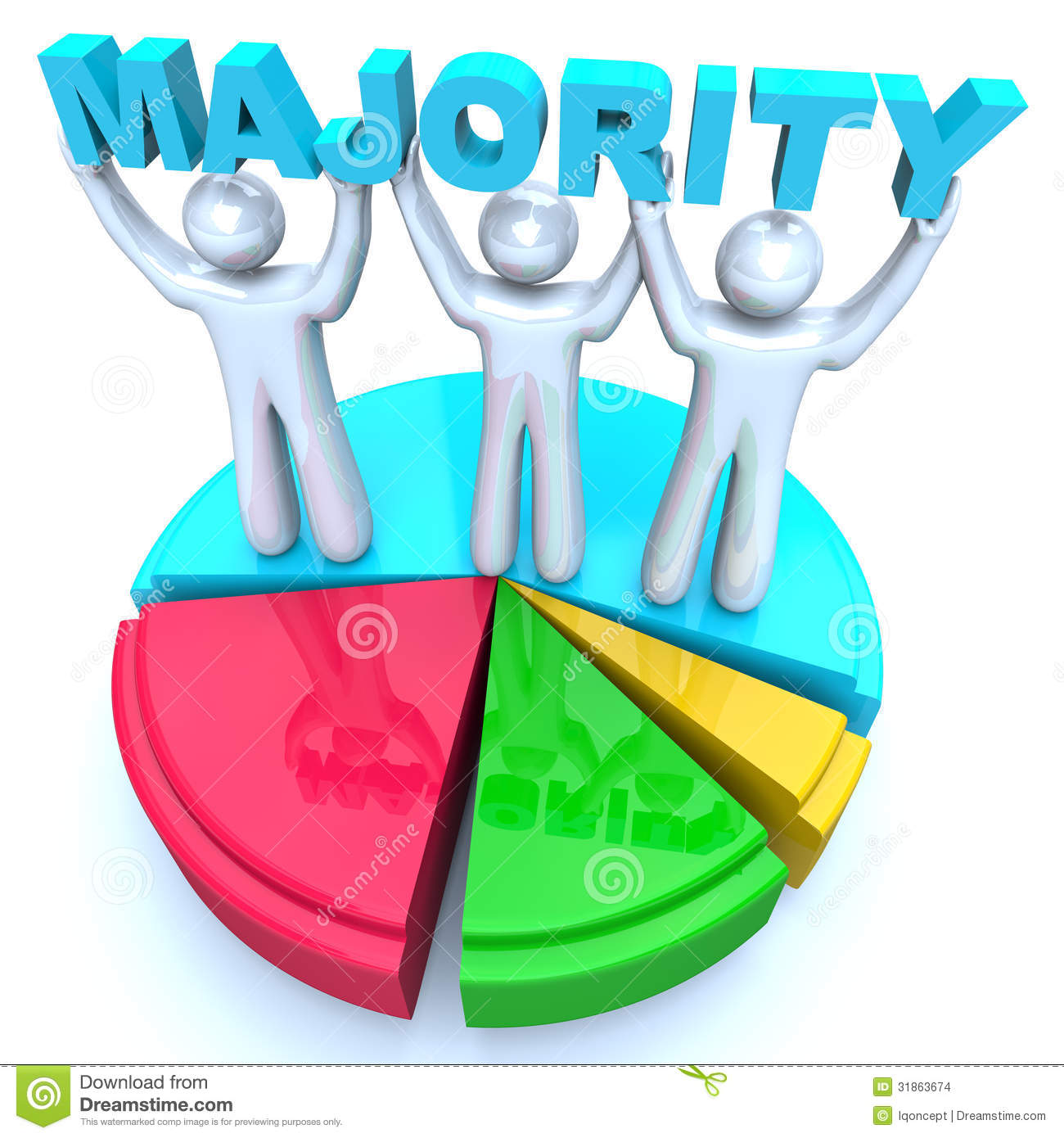 Men holding the word party concept 3d illustration stock photo - Majority Rule People Holding Word On Pie Chart Winners Stock Images