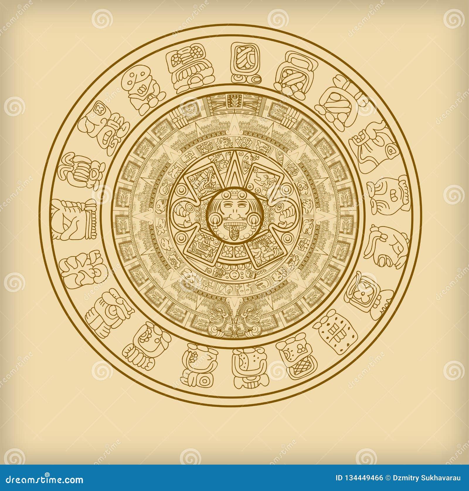 Majowie kalendarz Majski lub aztek hieroglif podpisuje