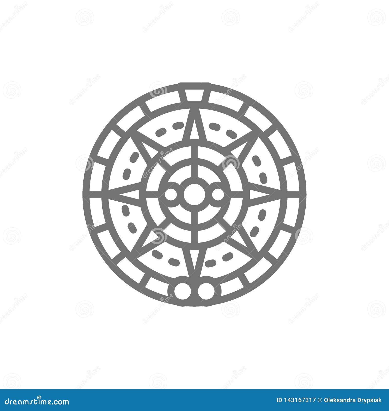 Majski kalendarz, meksykańska etniczna ornament linii ikona